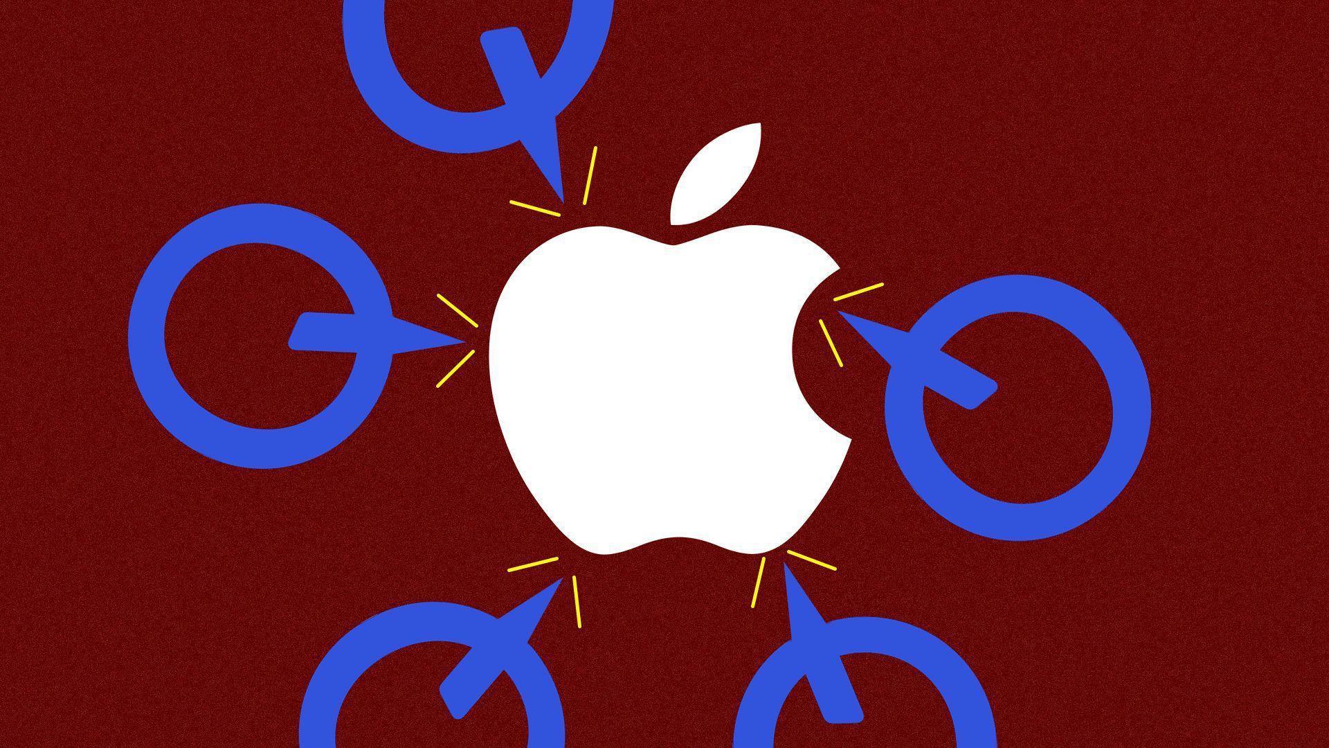 Multiple Qualcomm logos casting arrows at an Apple logo