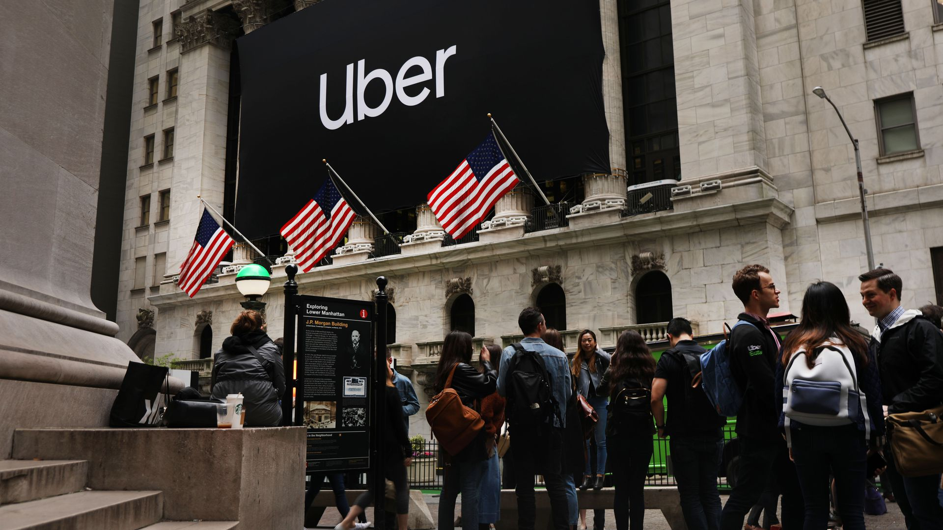 The Uber banner hangs outside of the New York Stock Exchange in 2019.