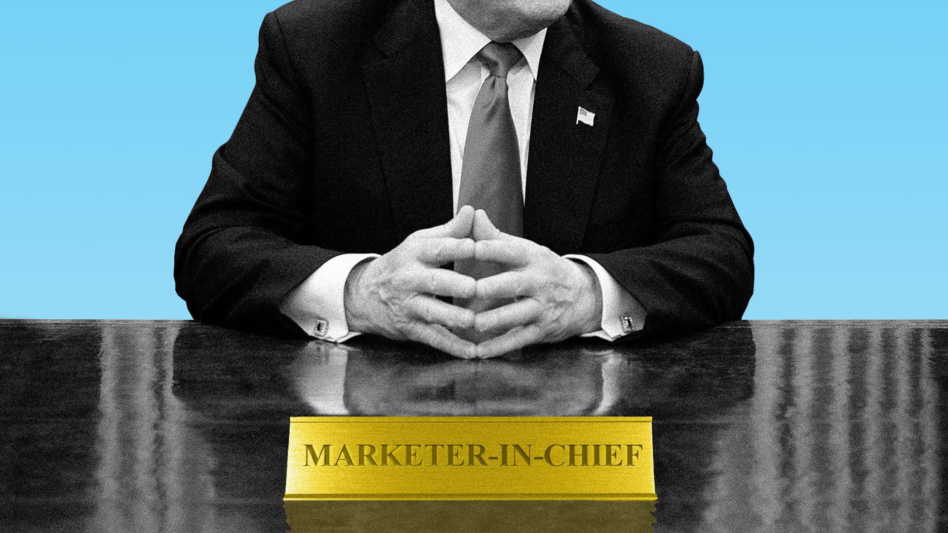 """Illustration of President Trump behind his desk with a placard that reads """"Marketer-In-Chief""""."""