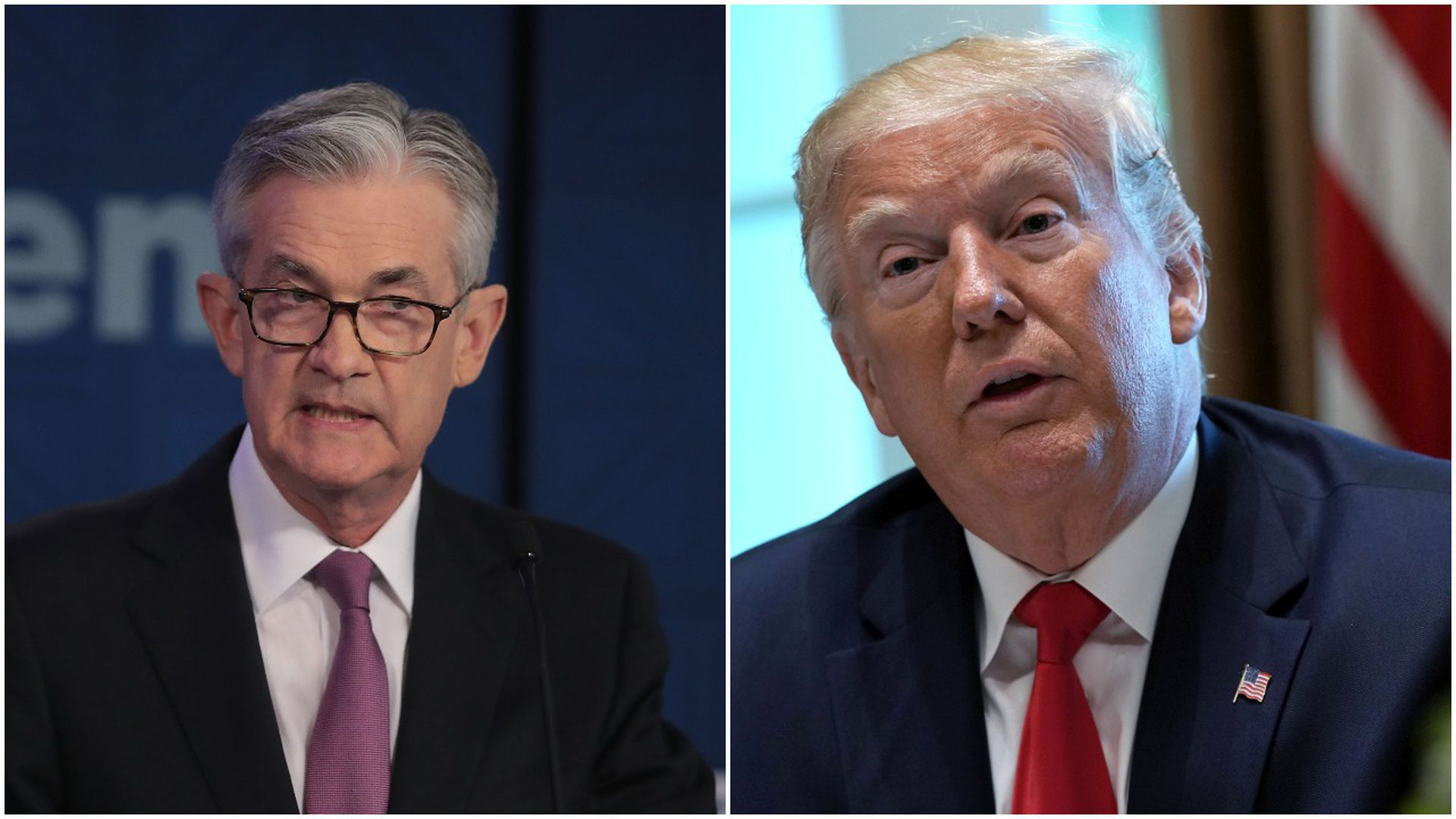 This image is a two-way splitscreen between Powell and Trump.