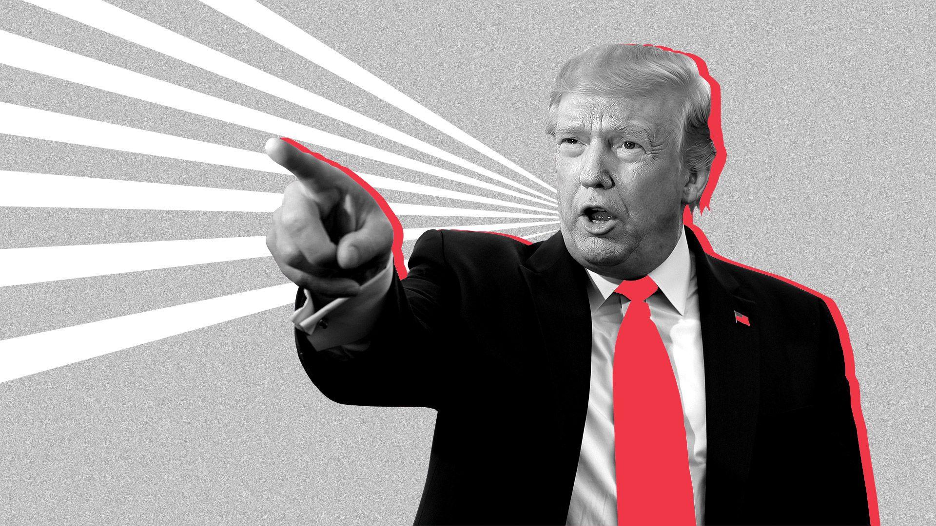 Photo illustration of President Donald Trump.