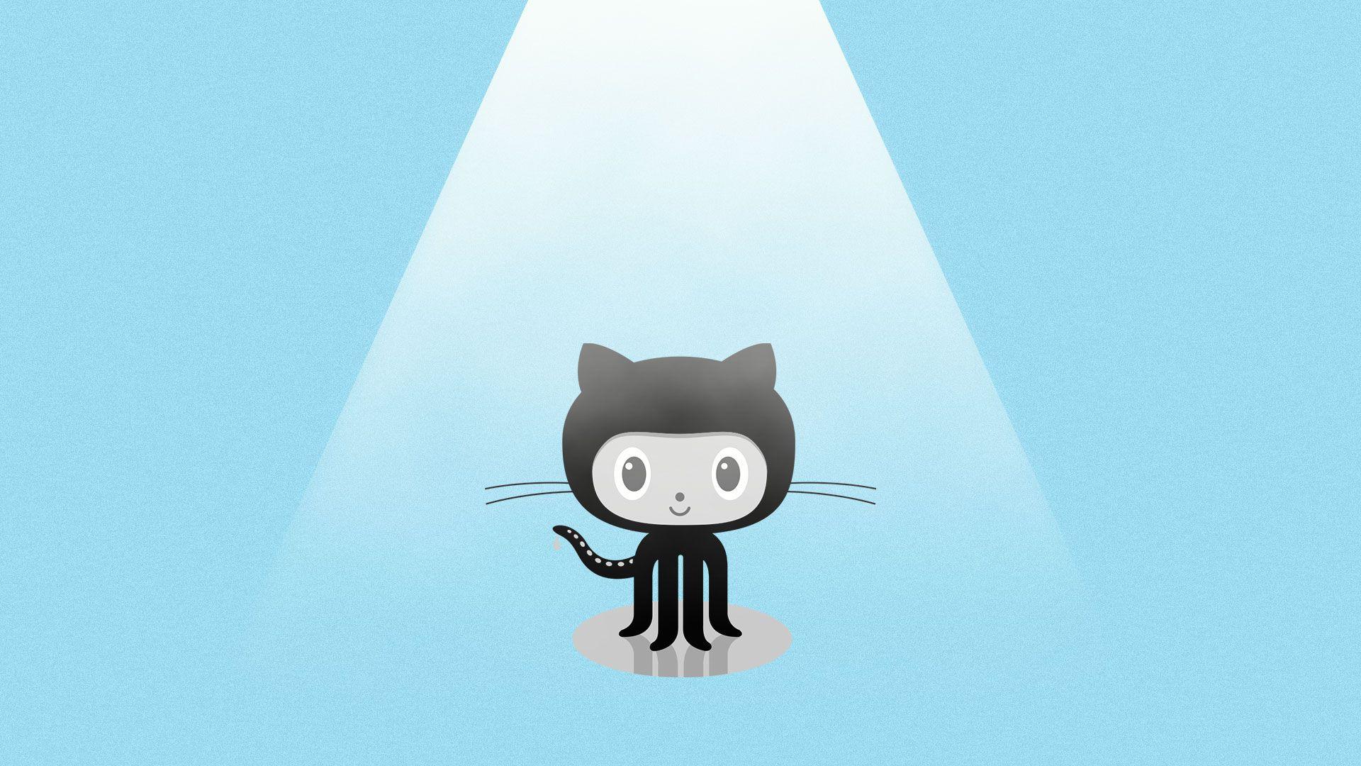 Illustration of Github's Octocat under a spotlight.