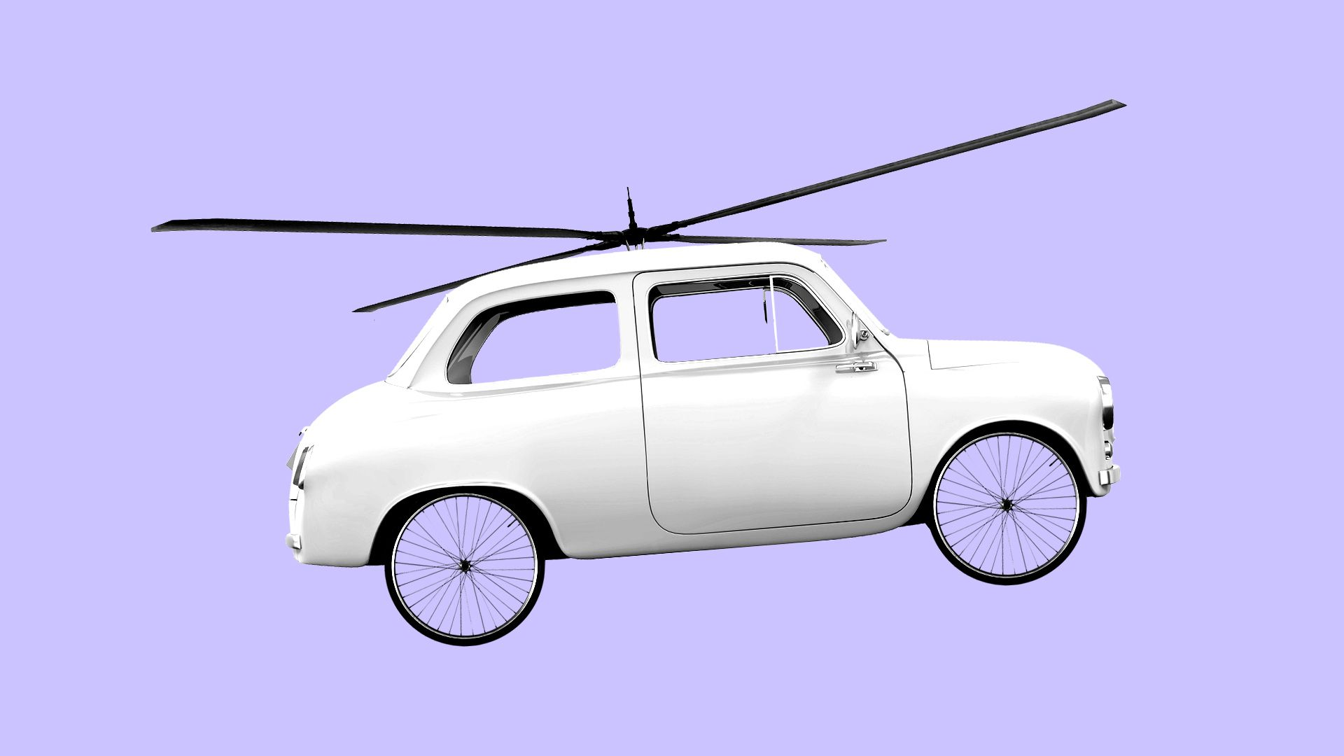 Illustration of car with bicycle tires and a helicopter rotor blade