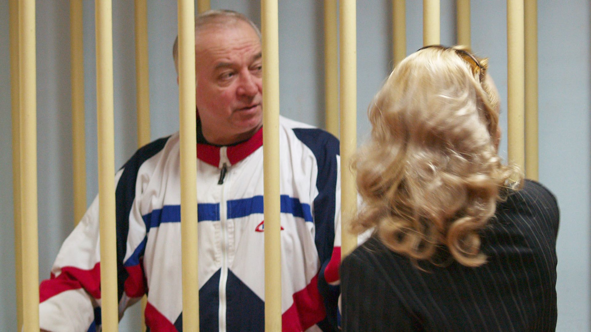Sergei Skripal at Moscow district court stands behind bars