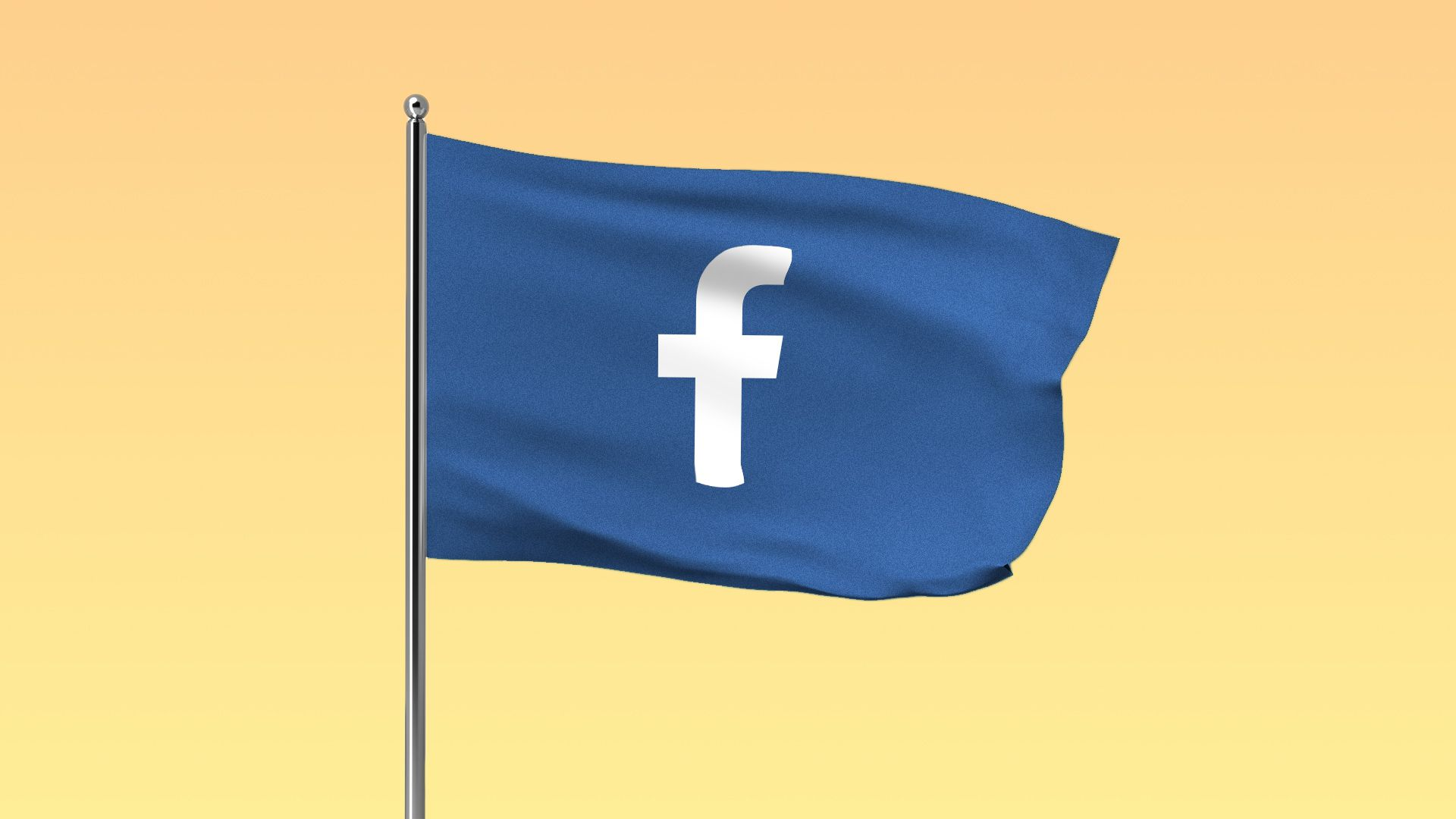 """Illustration of a blue flag with the Facebook """"f"""" logo on it"""