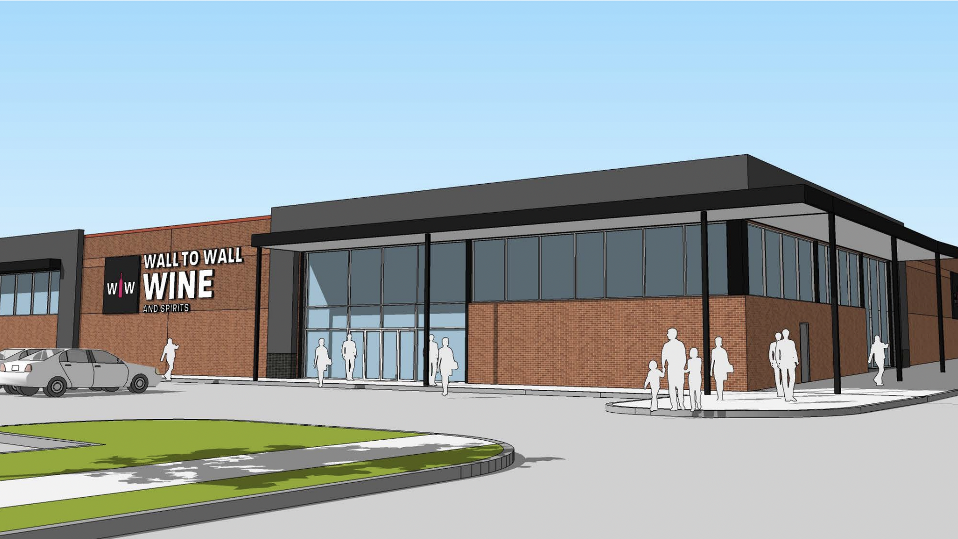 A rendering of Hy-Vee's new Wall to Wall Wine and Spirits concept store.