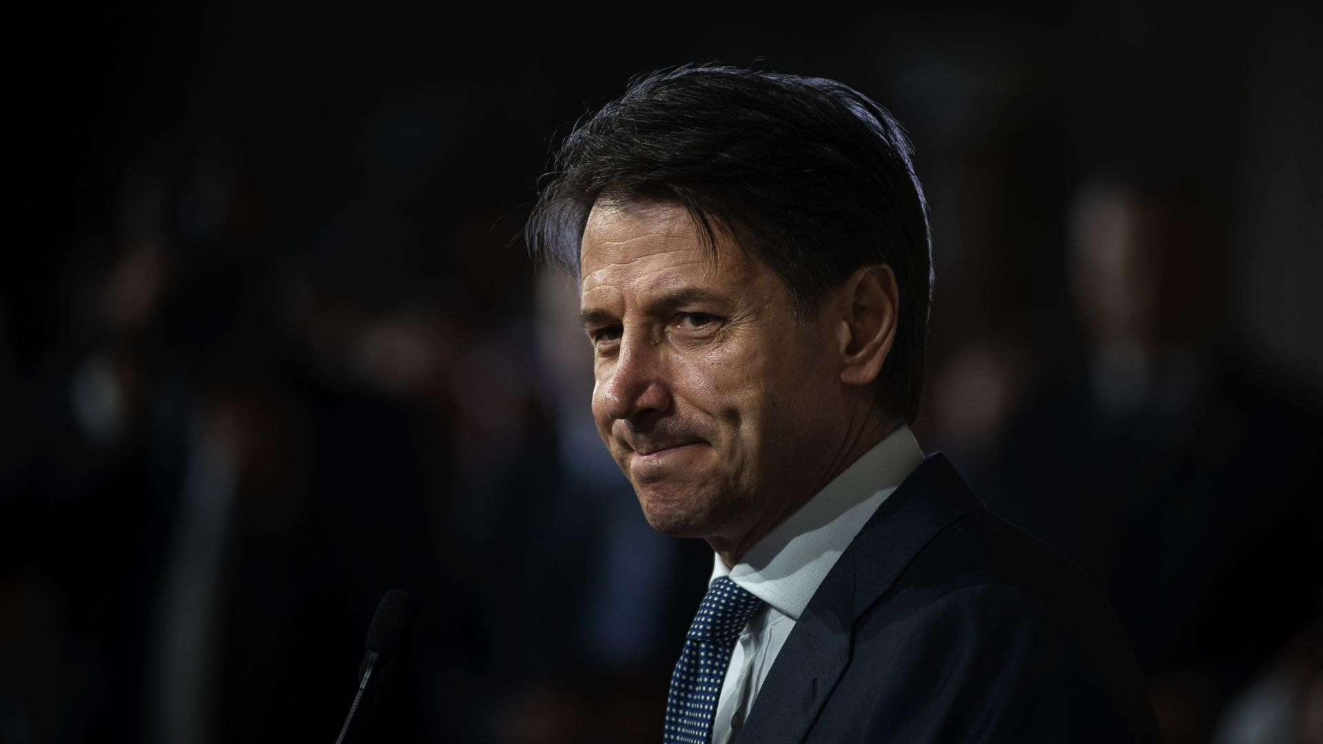 Giuseppe Conte, Italy's new prime minister designate, speaks to the press after being appointed