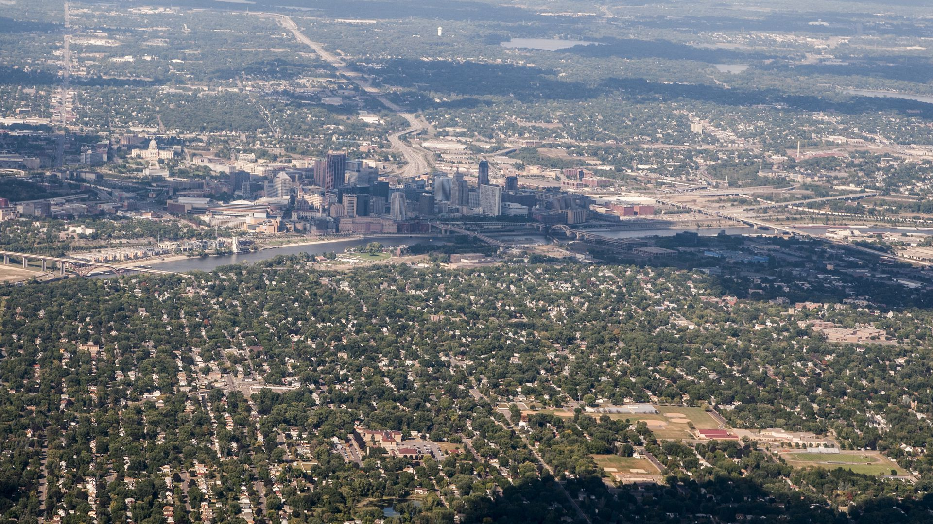 An aerial image of the Twin Cities.