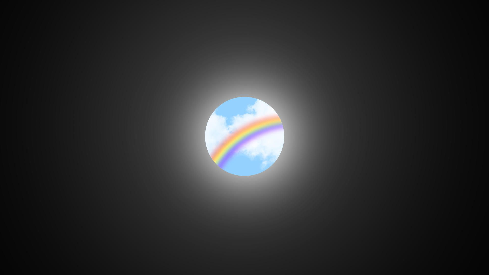 Illustration of small rainbow surrounded by darkness