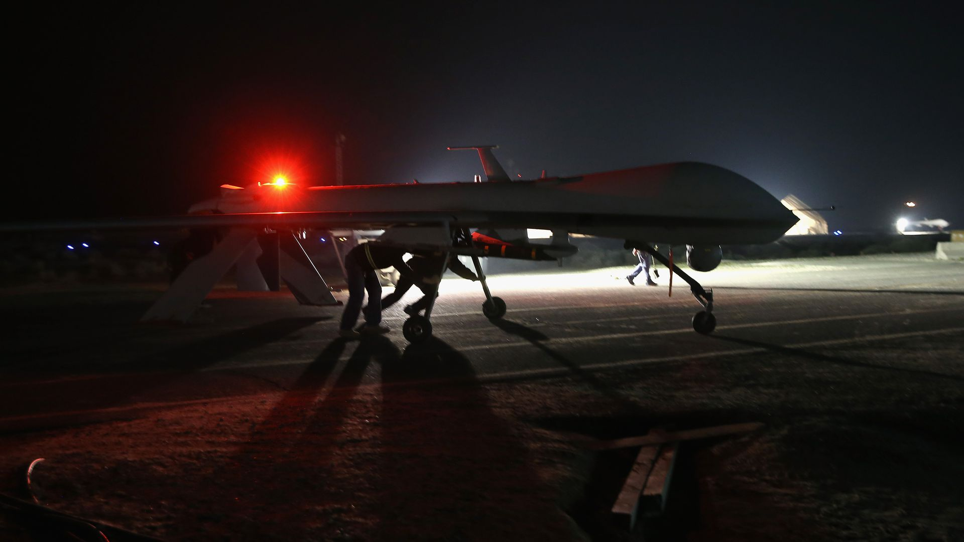 A drone on a tarmac in an undisclosed base in the the Persian Gulf region