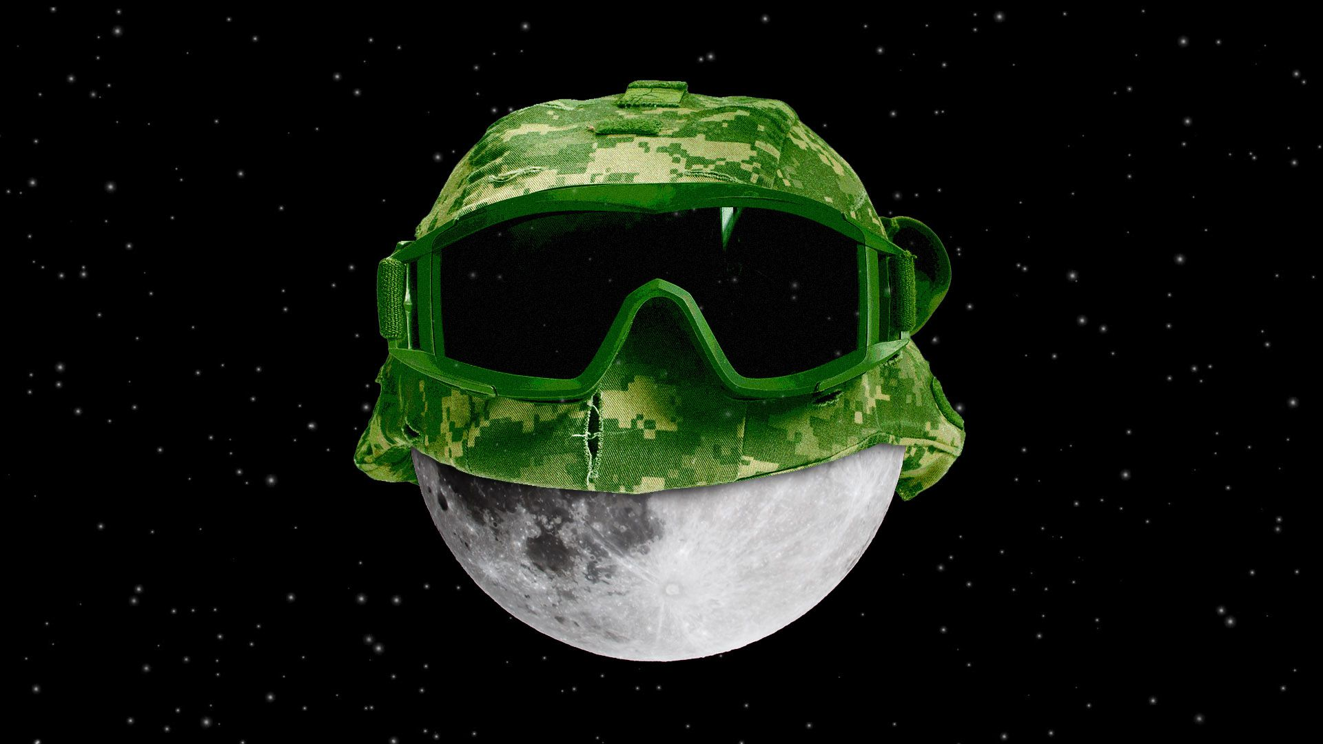 Moon with military goggles and a helmet.