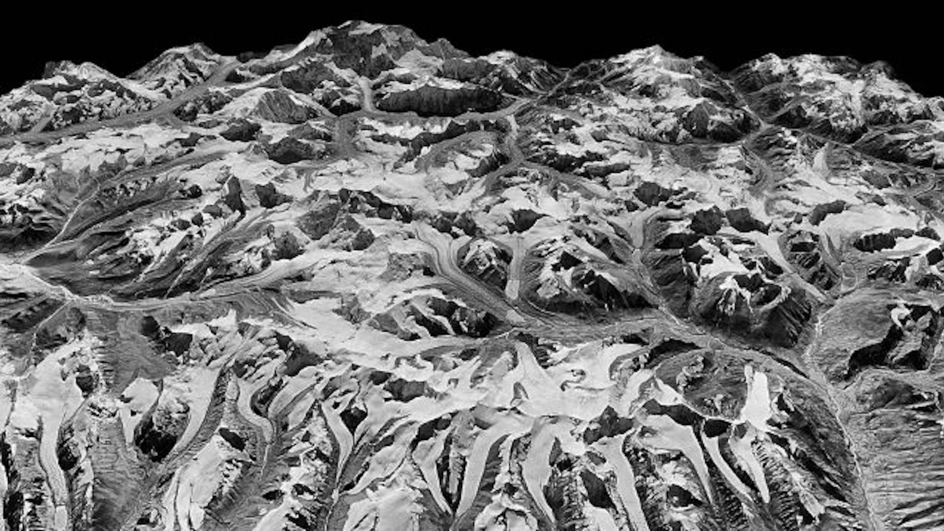 Oblique view of the Himalayas on the border of Sikkim, India and eastern Nepal, in 1975.