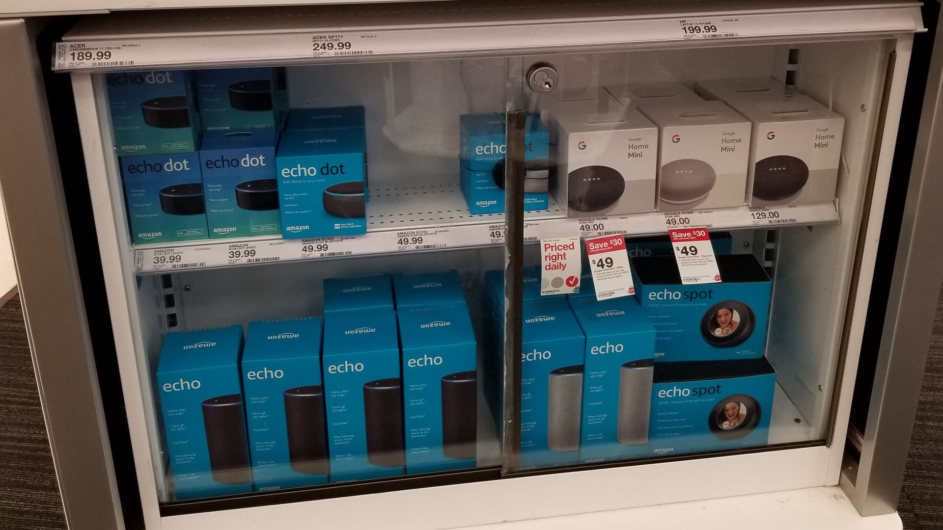 Case of Amazon Alexa products in a store