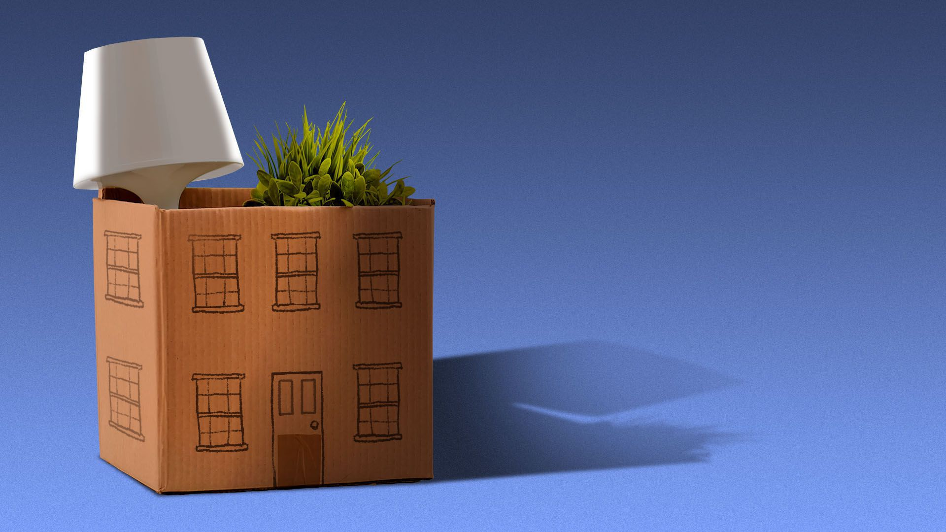 Illustration of a cardboard moving box with the facade of a house drawn on it