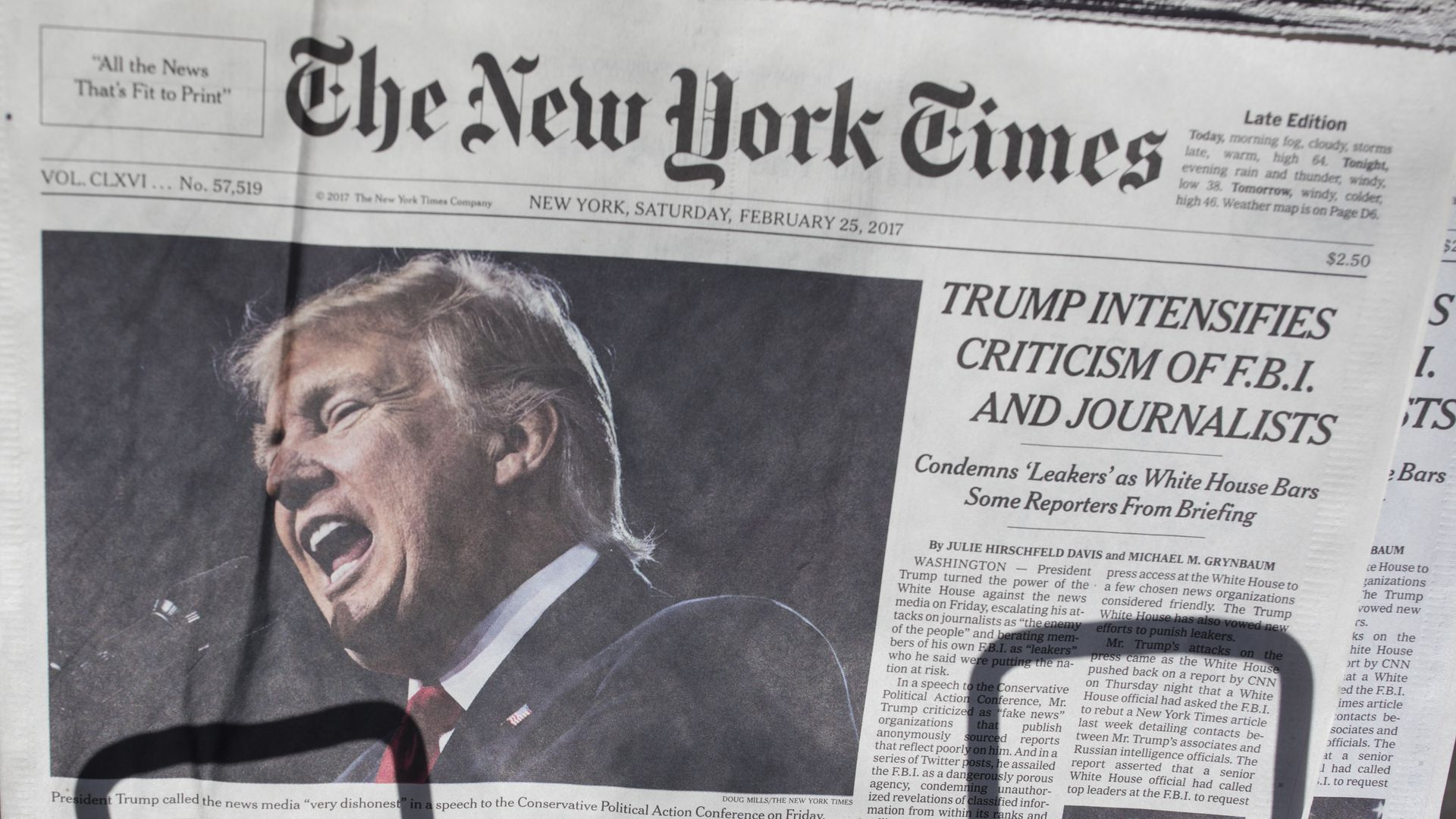 A New York Times paper with Trump on the front page