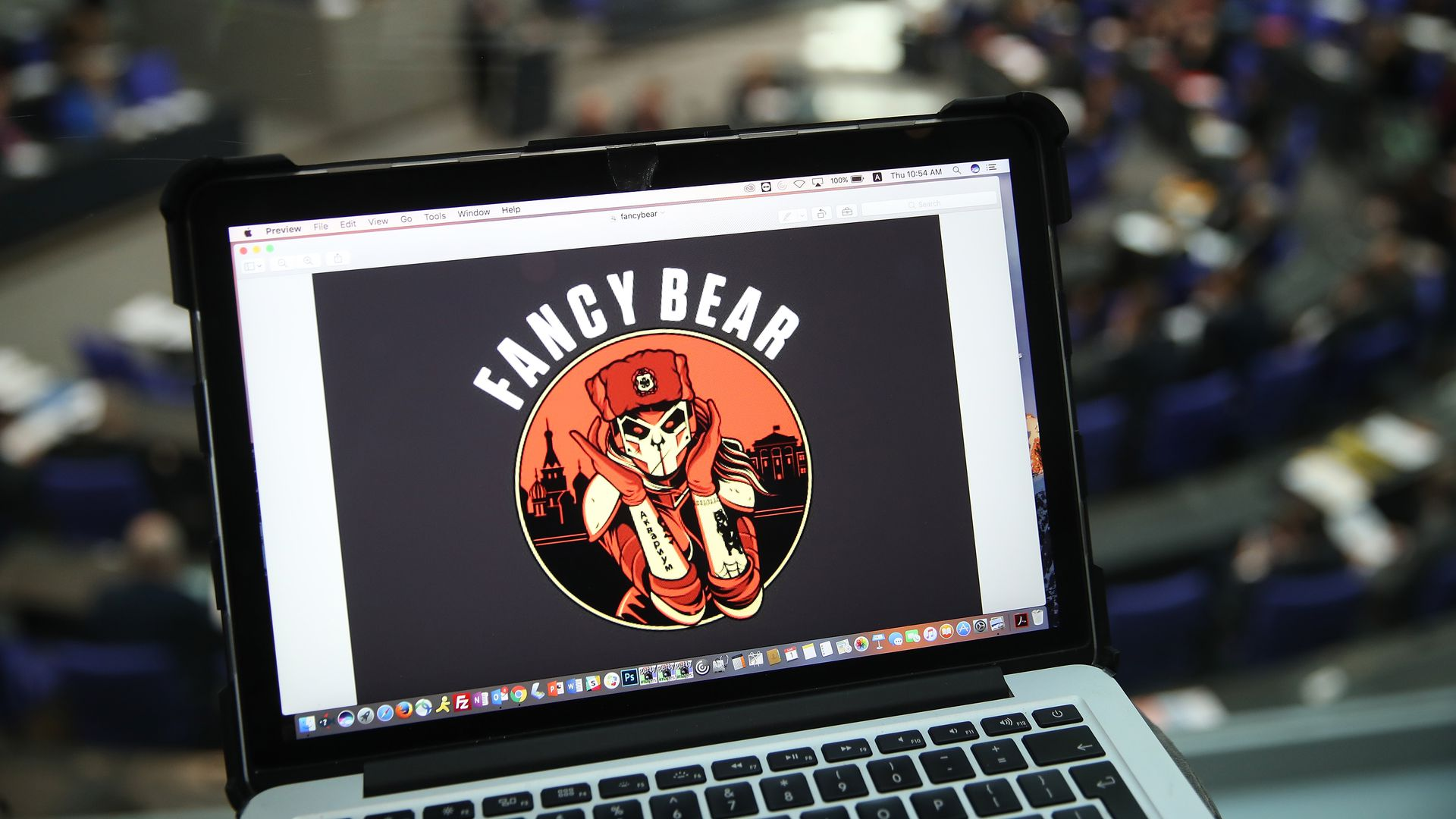 Laptop showing a logo for suspected-Russian hackers Fancy Bear, designed by security company Crowdstrike