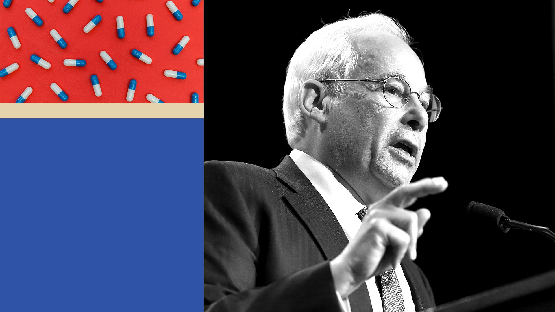 An illustration showing Don Berwick speaking in one panel and prescription drug pills in another panel.