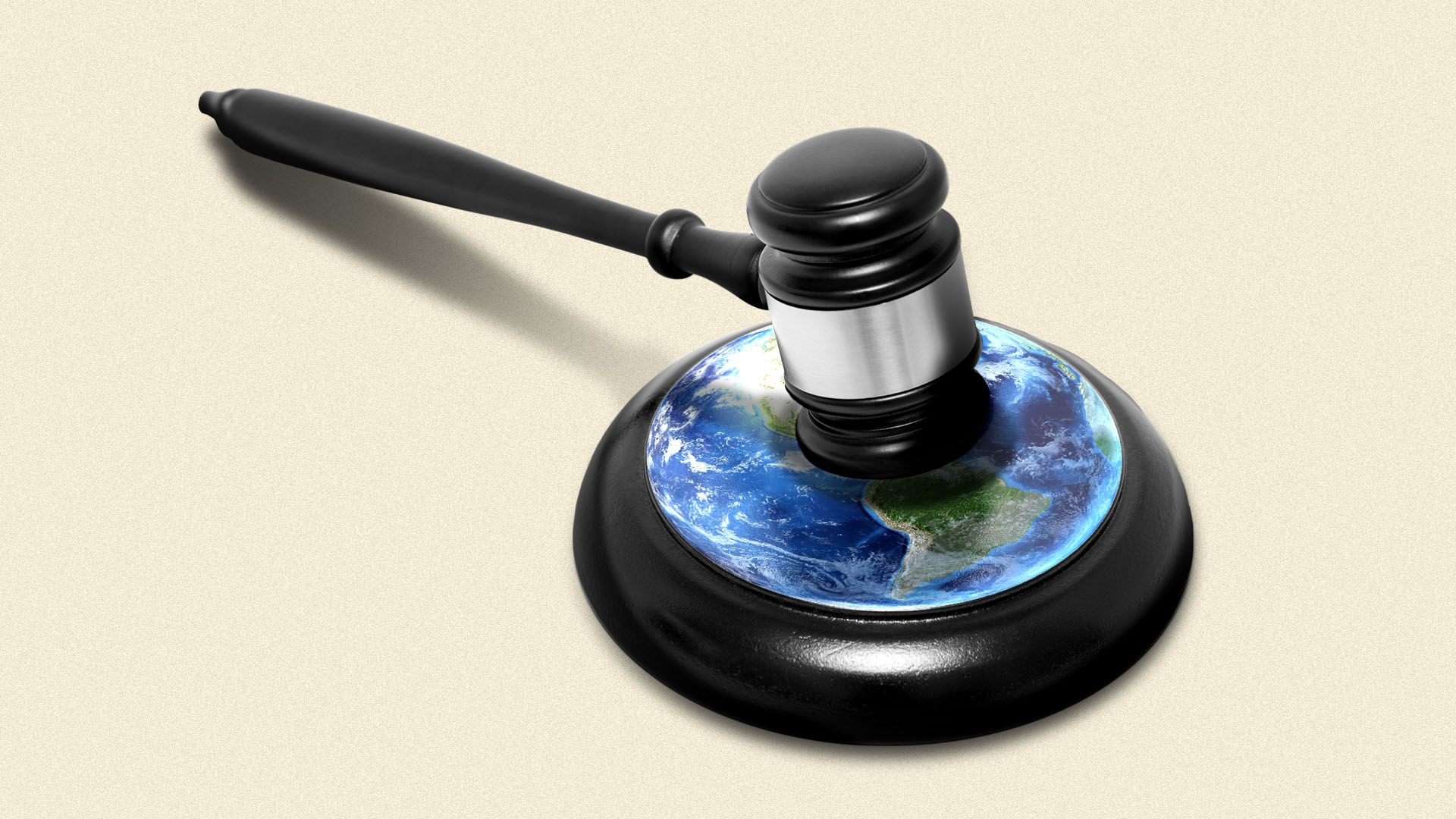 Illustration of a gavel and sound block with an image of the earth on it.
