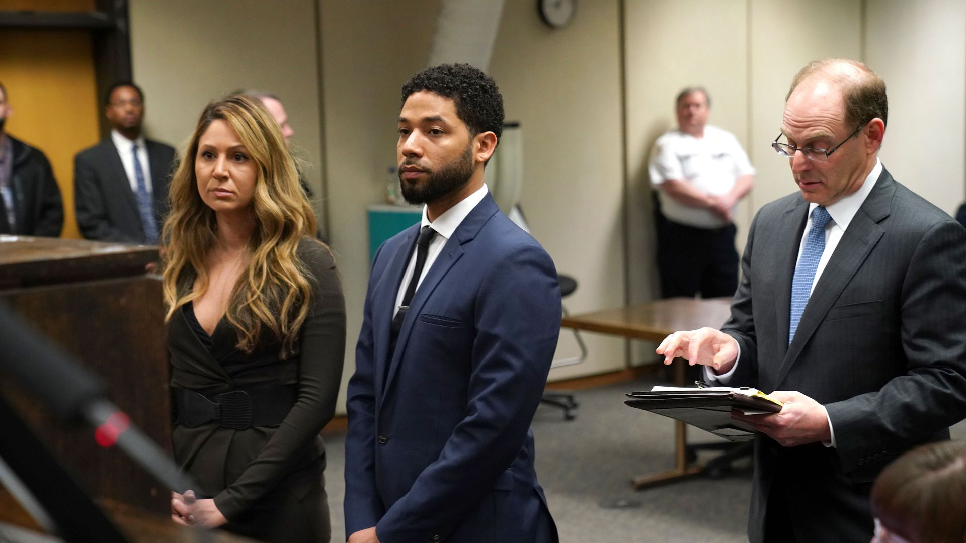 Actor Jussie Smollett with his lawyers