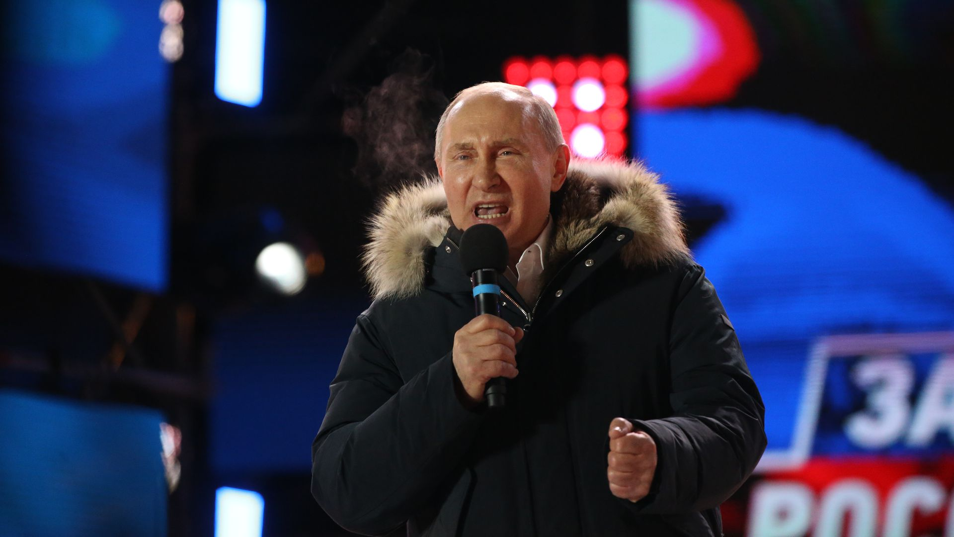 Russian President Vladimir Putin at a campaign rally in March before winning reelection