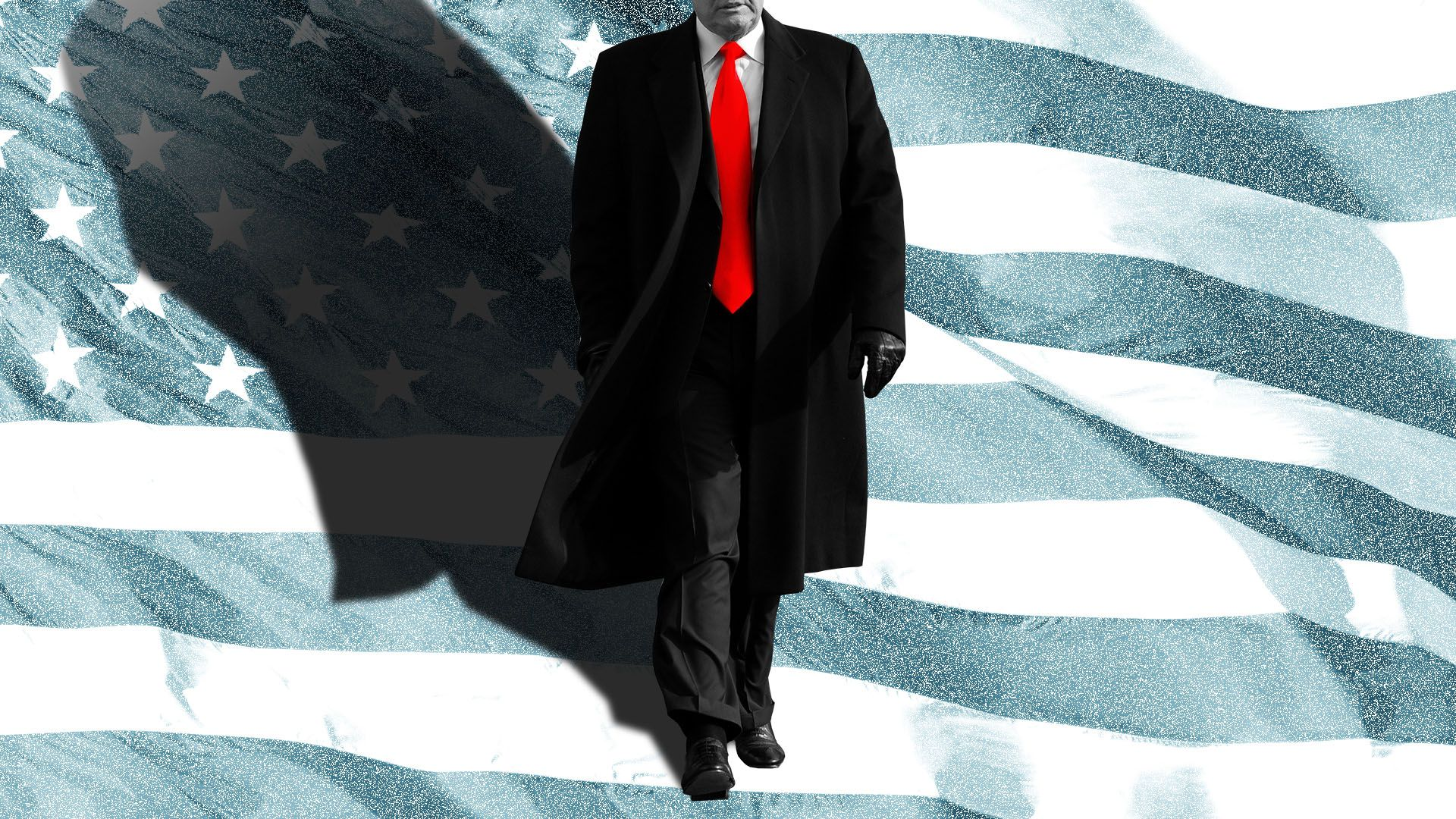 Illustration of President Trump casting shadow over U.S. flag
