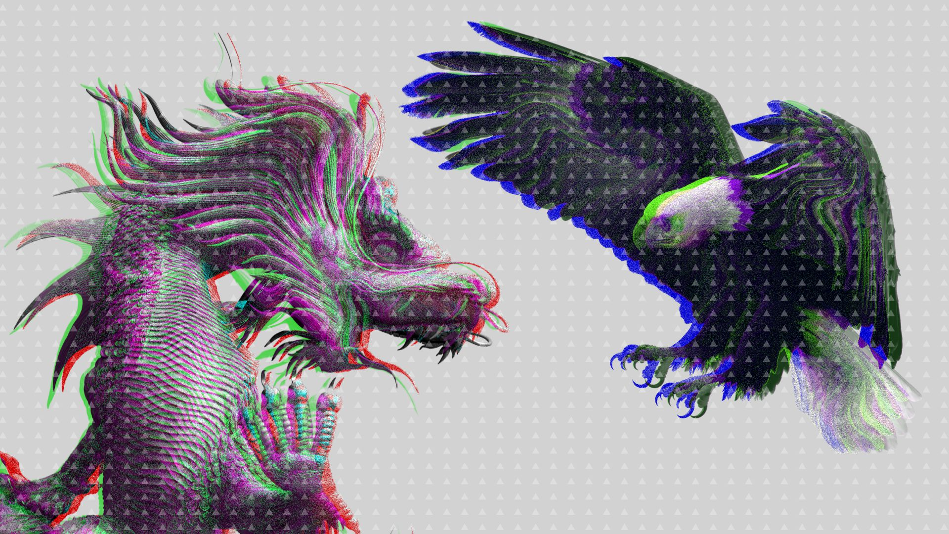 Illustration of an American eagle attacking a Chinese dragon in muted grey colors