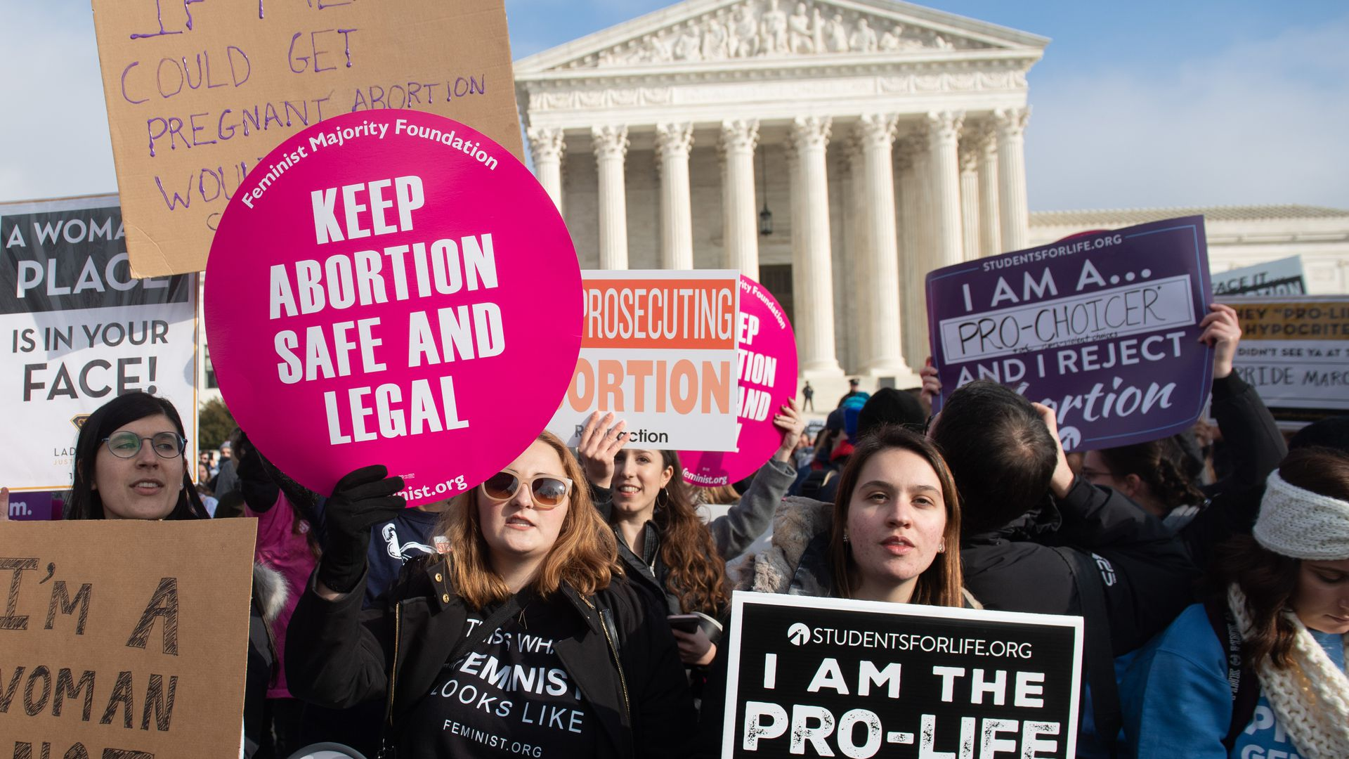 Pro-choice and abortion rights activists protesting outside the U.S. Supreme Court.