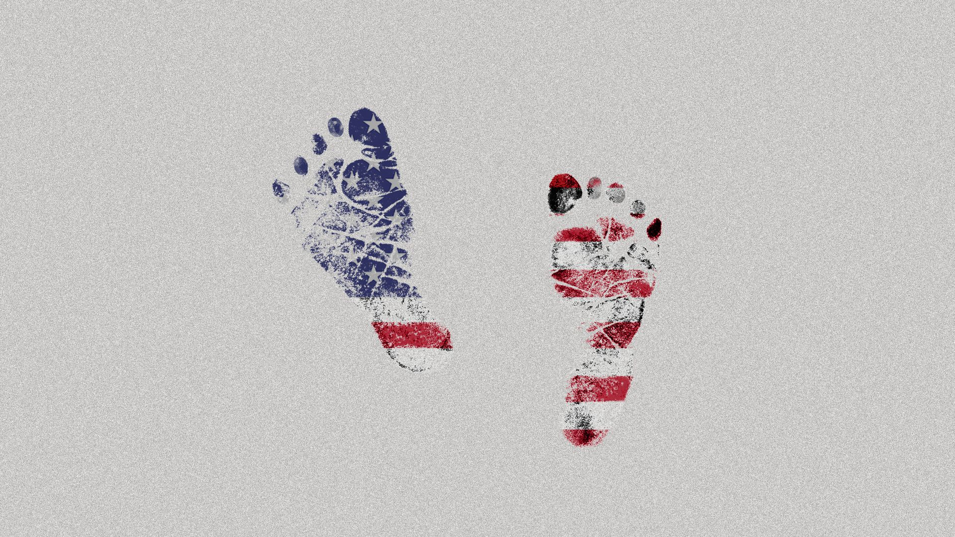 Illustration of a baby's footprints in American flag ink