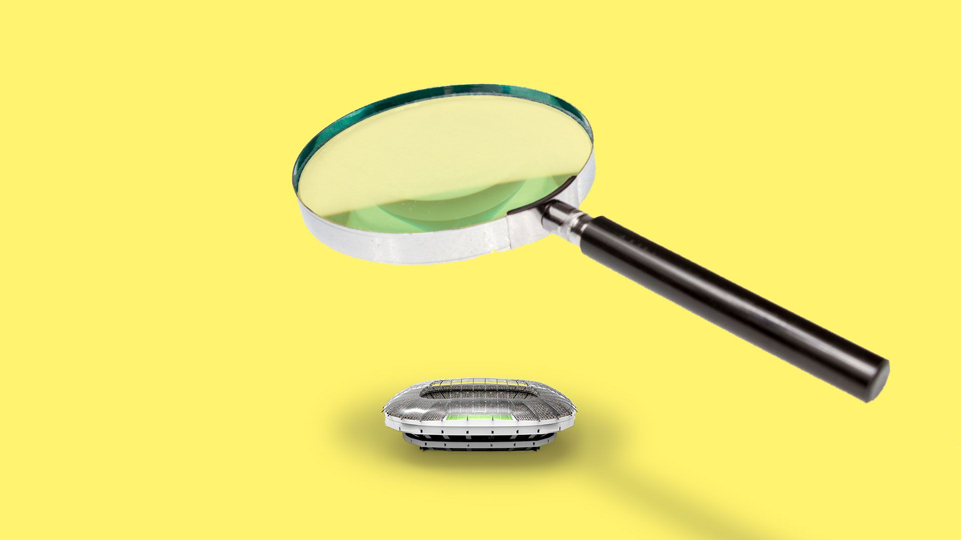 Illustration of a small stadium being observed under a magnifying glass.