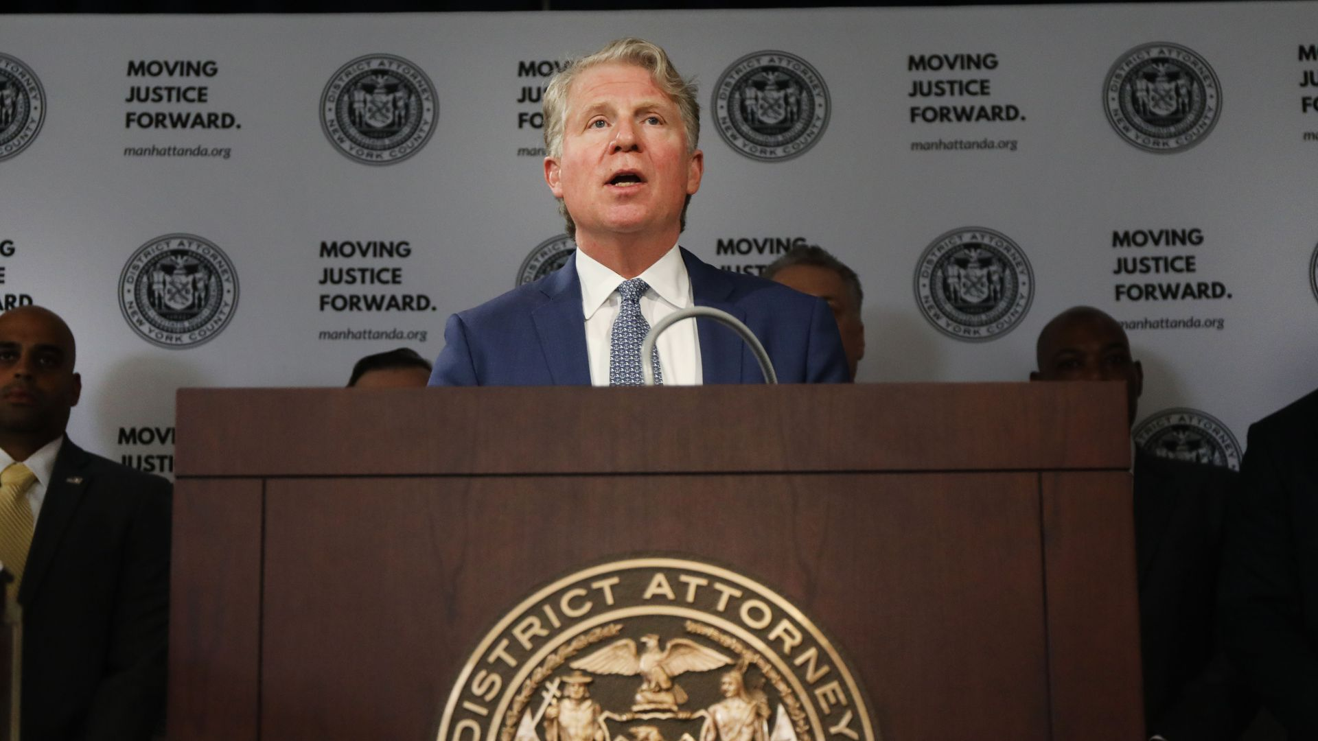 Manhattan District Attorney Cyrus Vance Jr. announces the take down of a crime ring run on the dark web on April 16, 2019 in New York City.