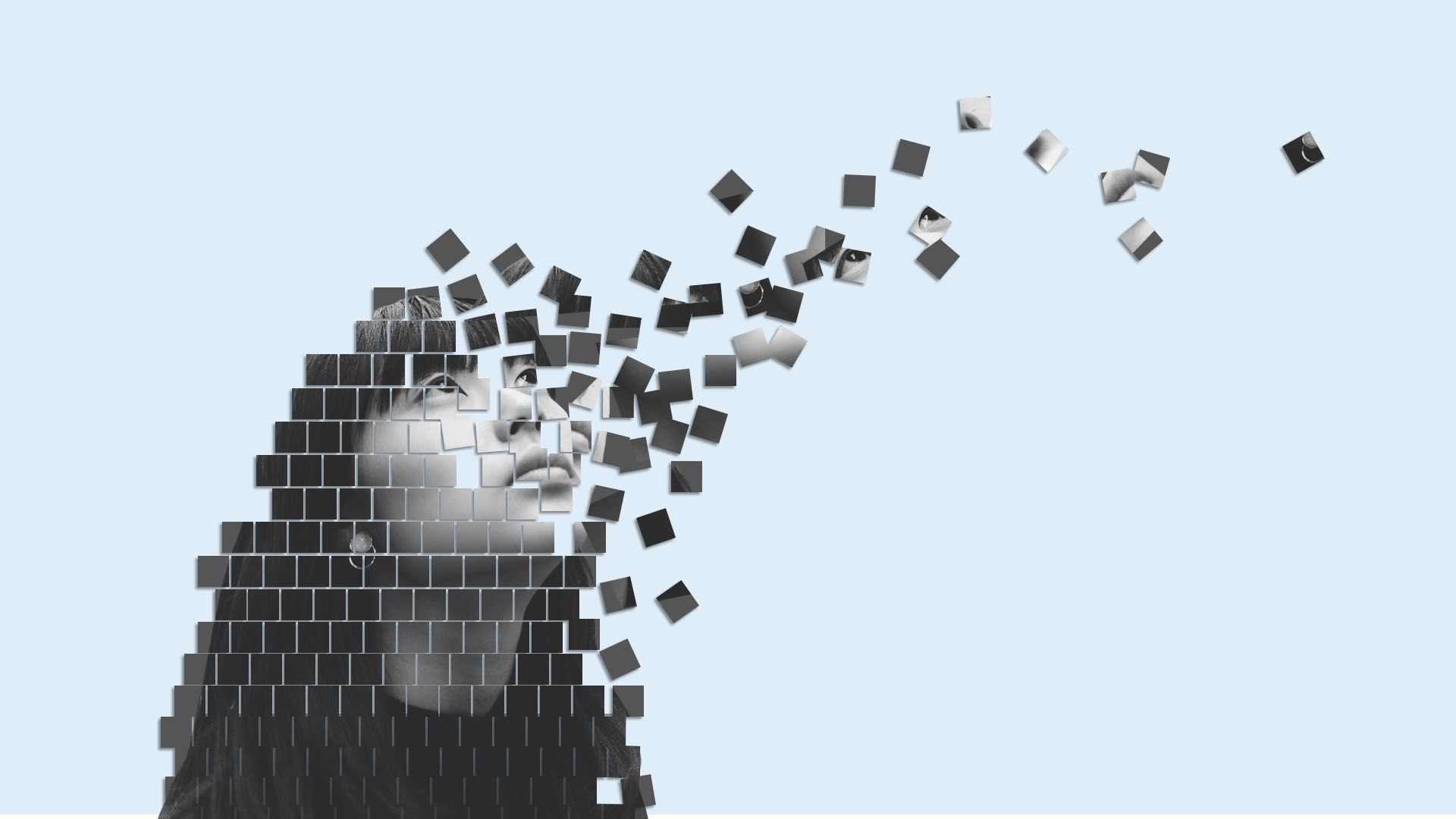 A pixelated person disintegrating.
