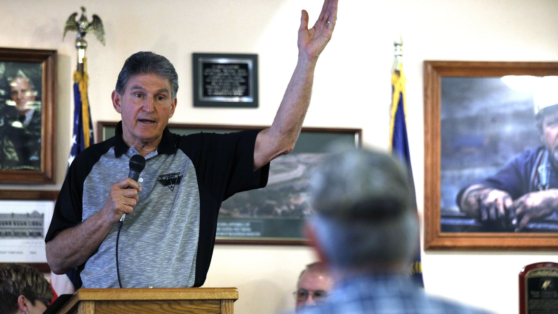Sen. Joe Manchin speaks at a town hall meeting.