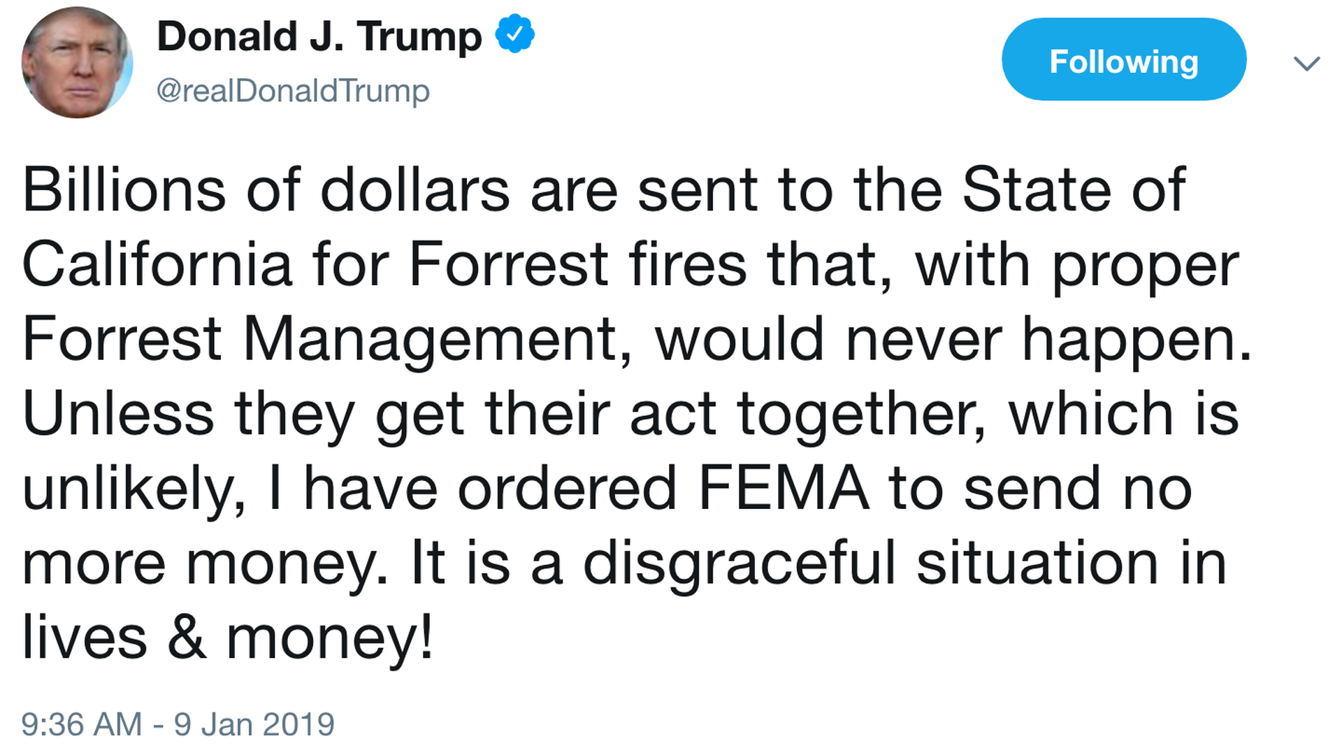 Blaming California's forest management, Trump threatens to end FEMA funds for state's wildfires