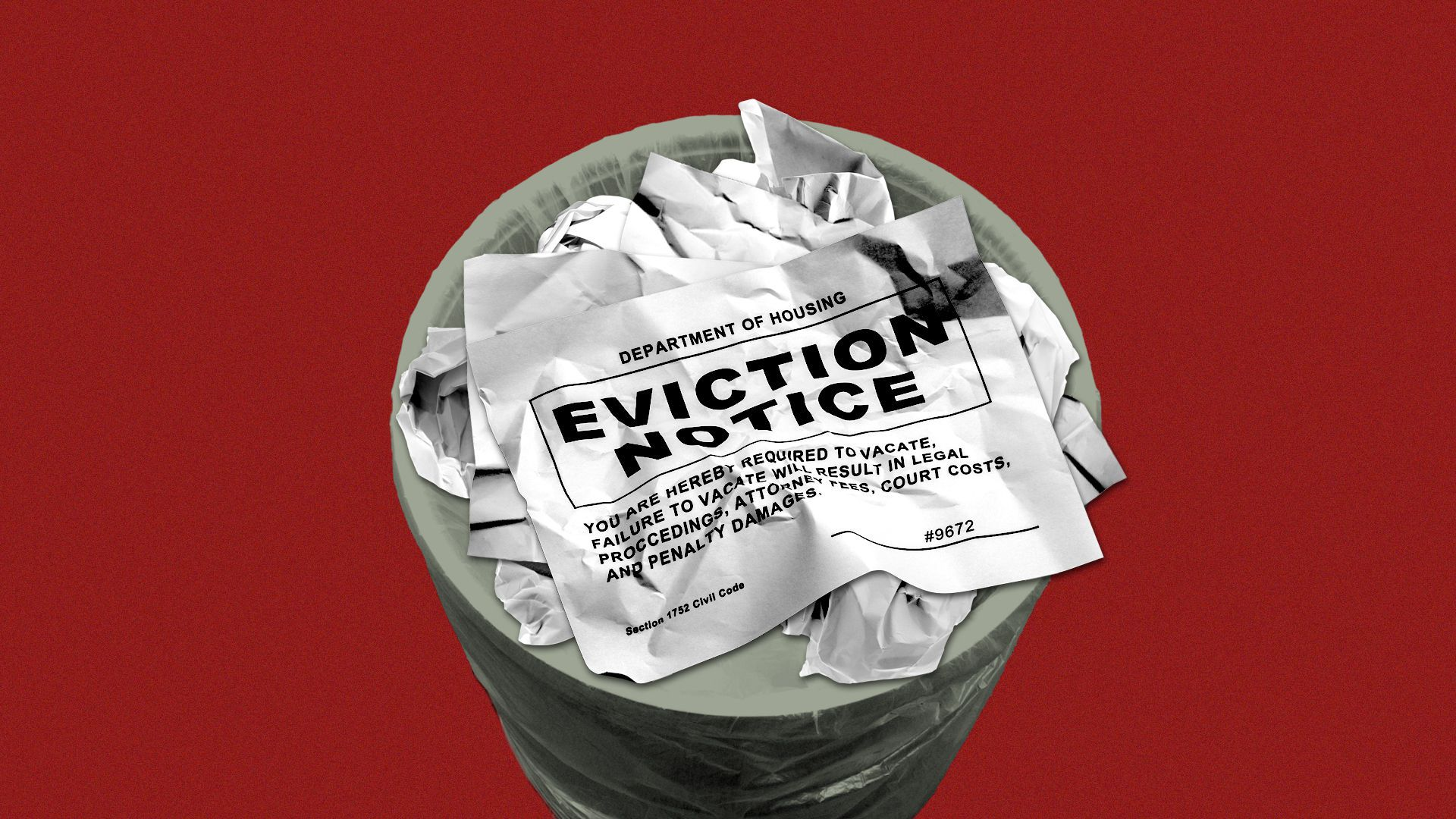 Illustration of a crumpled-up eviction notice in a trash can.