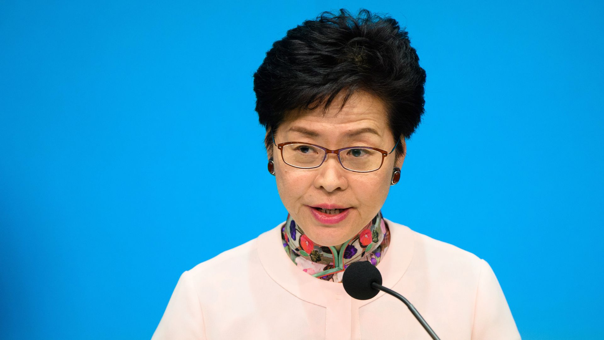This image shows Carrie Lam in a sweater standing and speaking in front of a microphone.