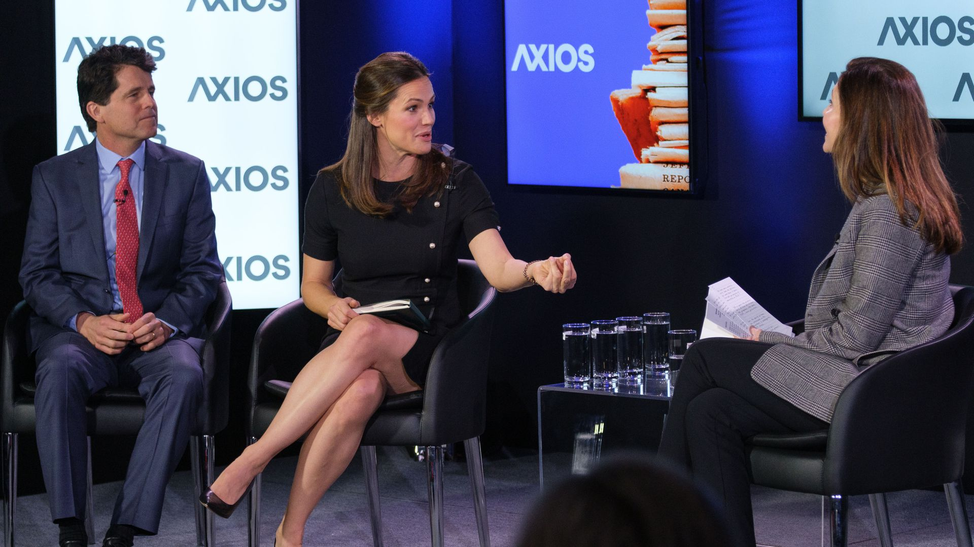 Save the Children's Mark Shriver and Jennifer Garner in conversation with Axios Executive Vice President Evan Ryan