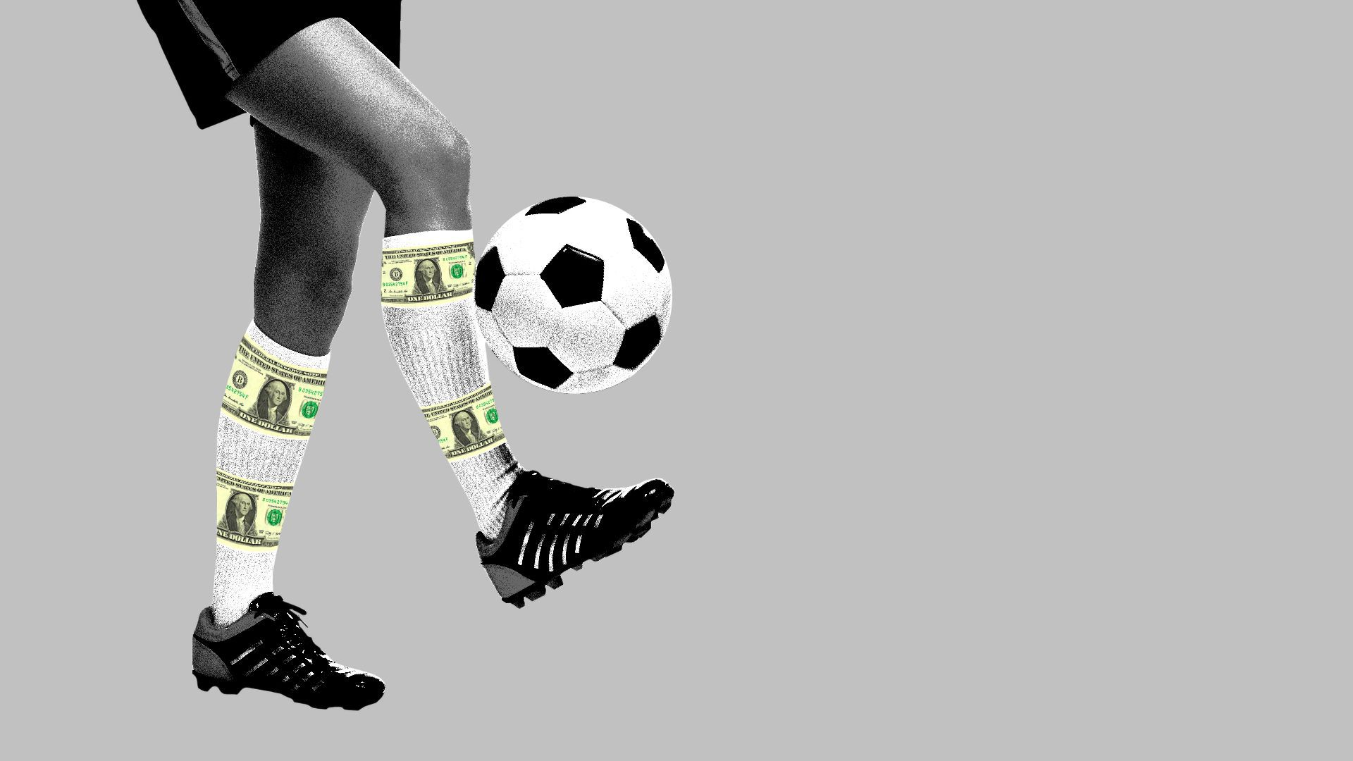 In this illustration, a soccer ball is kicked by someone wearing sports gear and socks with money printed on them.