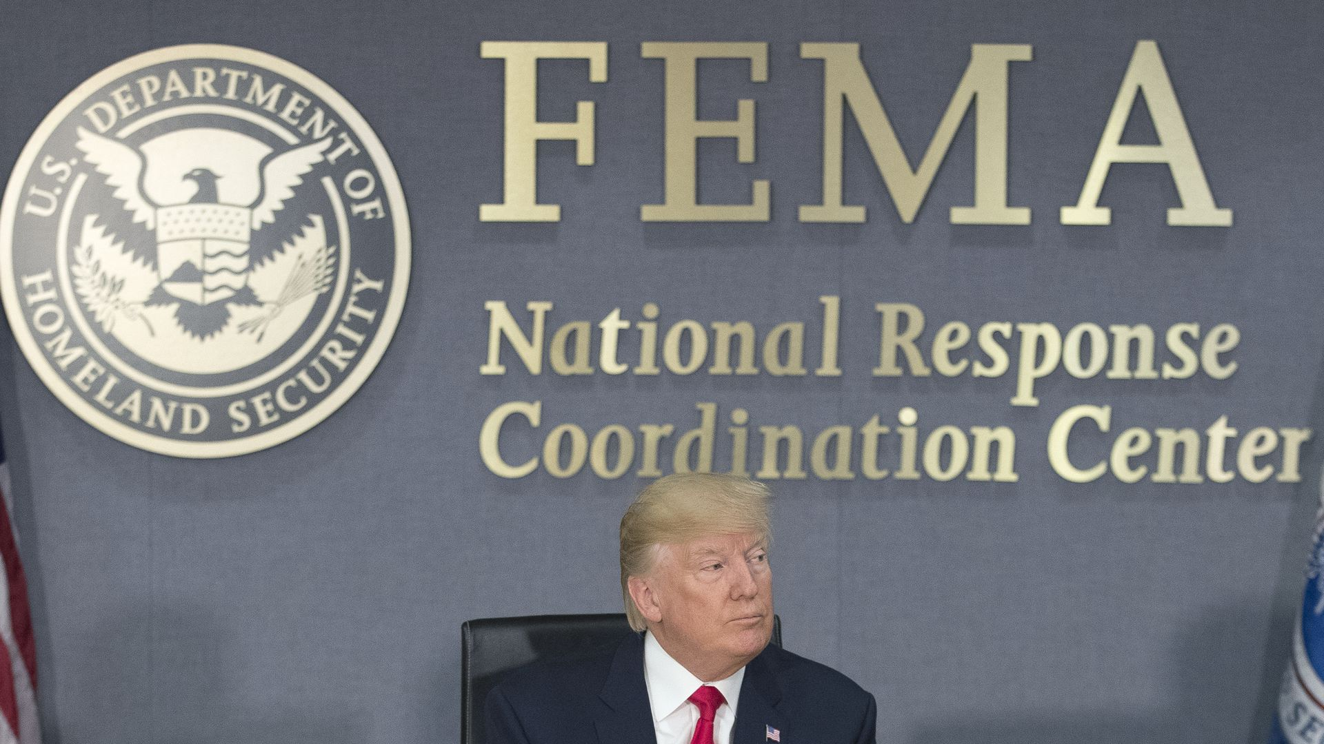 Donald Trump speaks during a visit to Federal Emergency Management Agency (FEMA) HQ