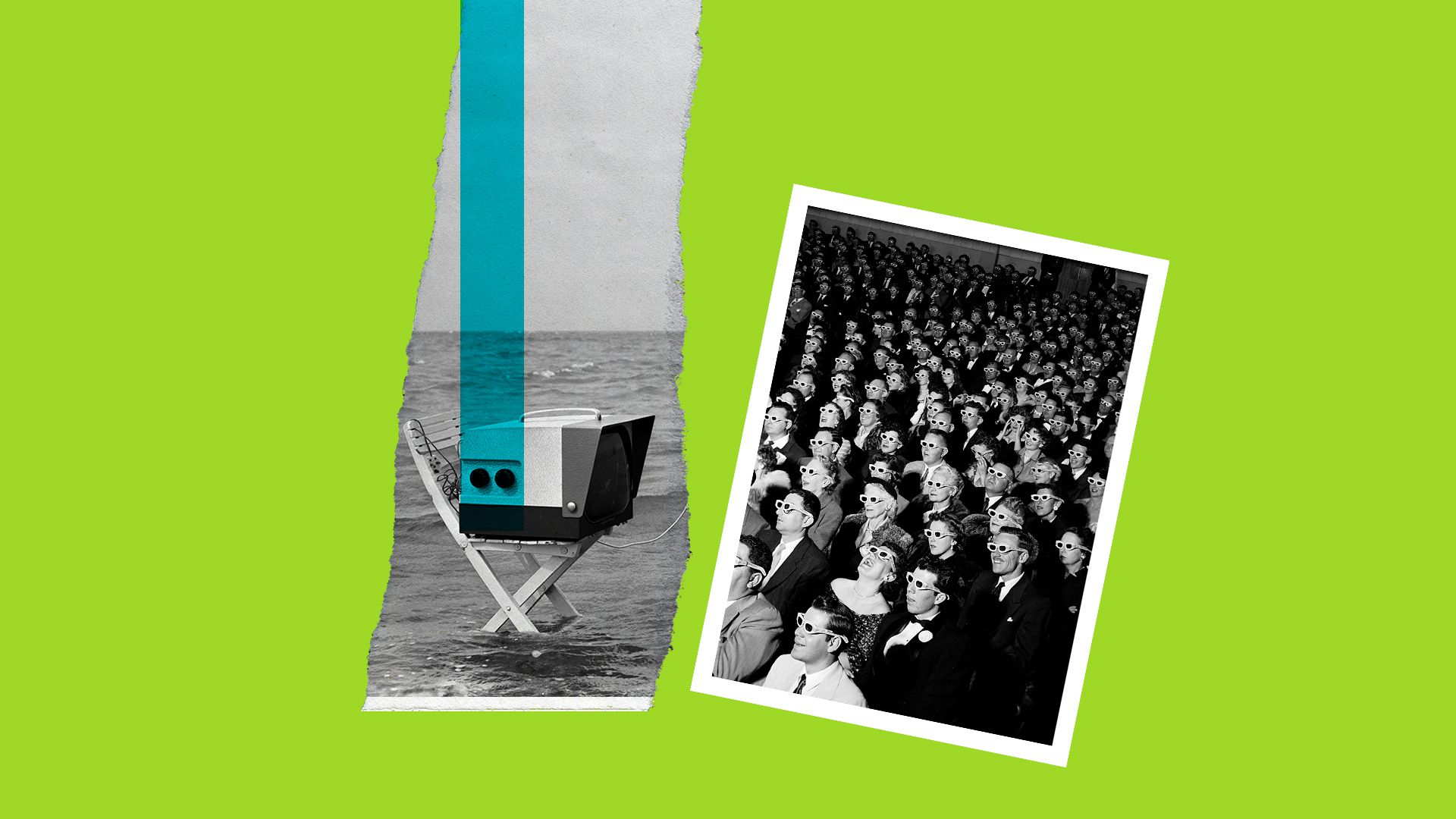 Collage illustration of a television in a stream of water near a historical image of people watching an early 3D film.