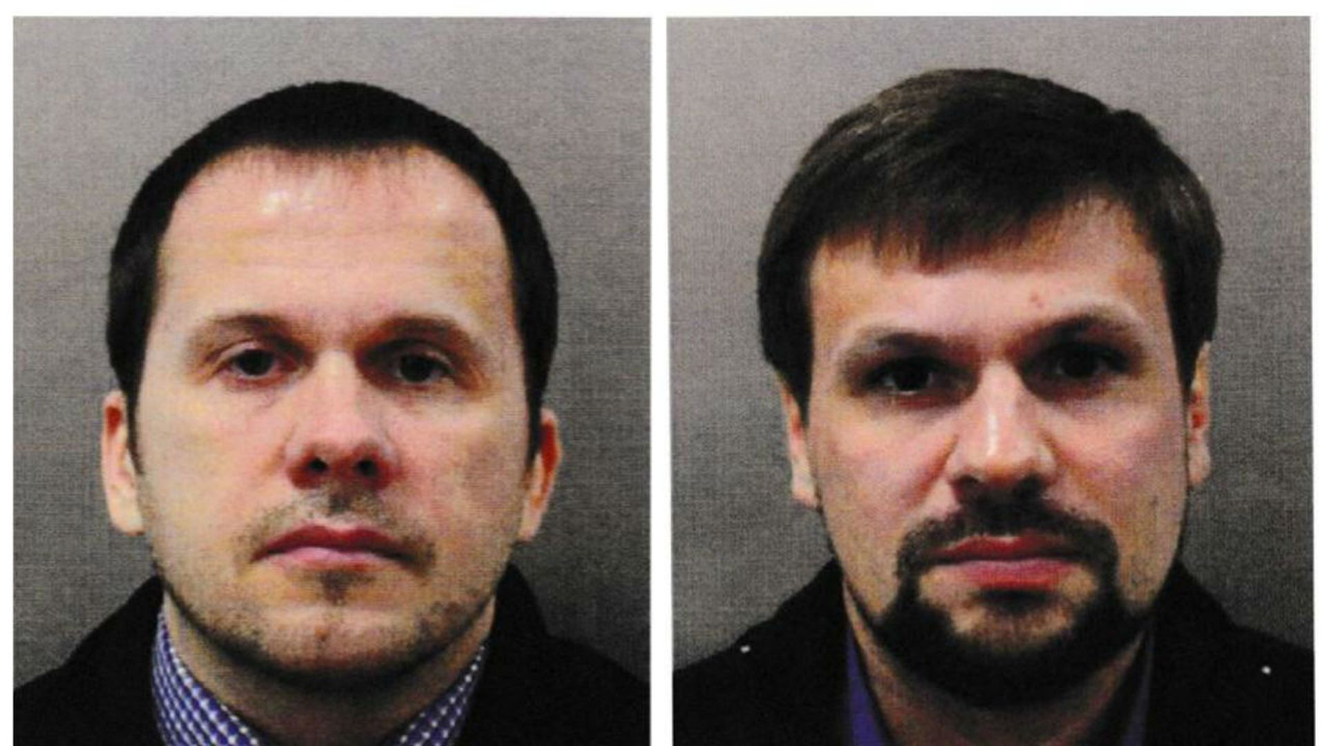 Mugshots of Russians charged in Skripal poisoning