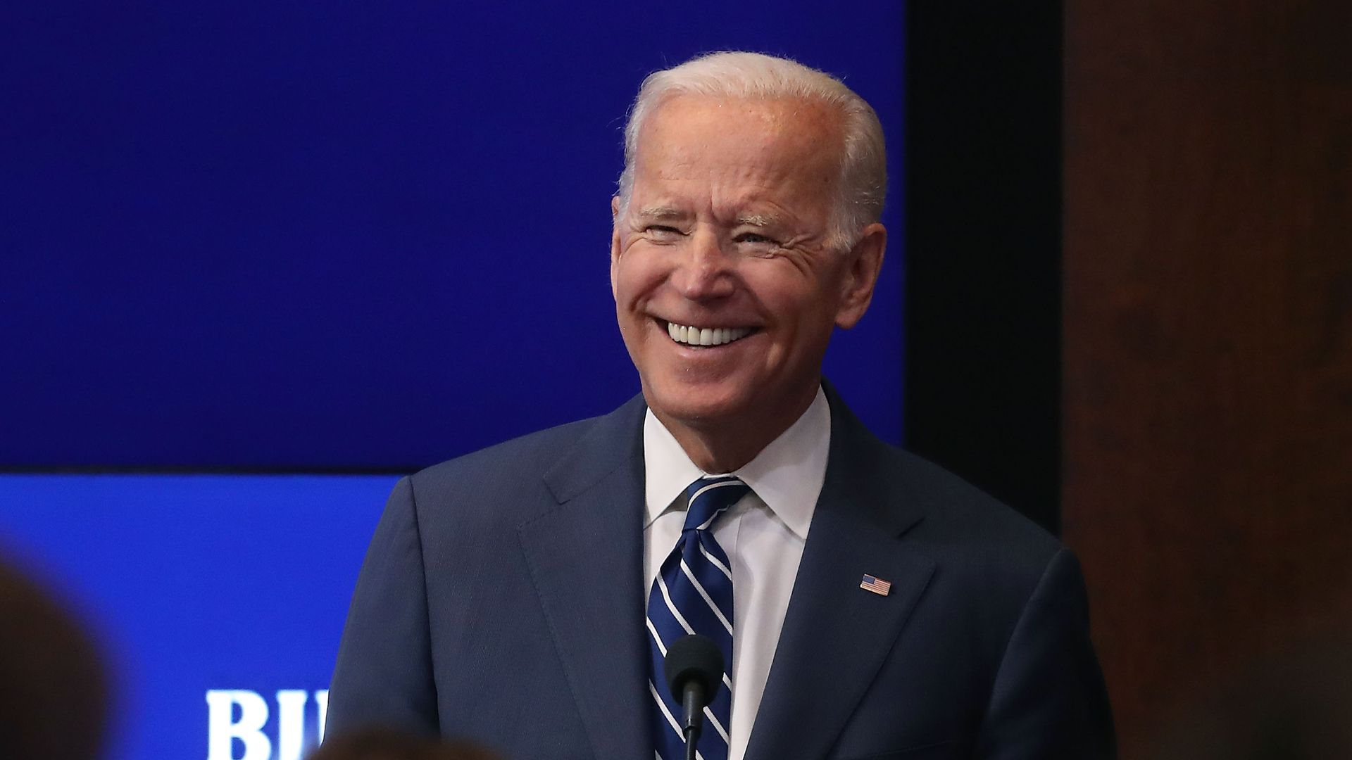 Joe Biden smiling.