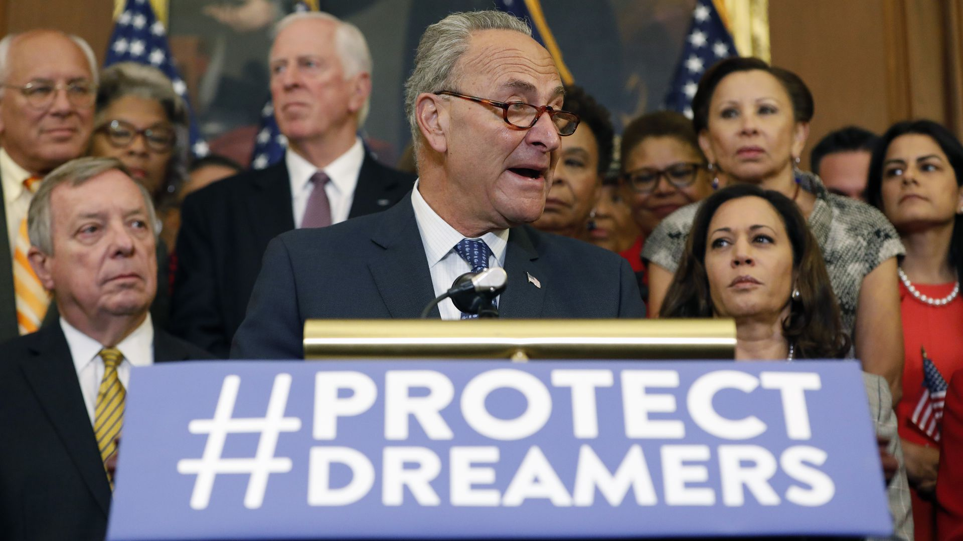 "Chuck Schumer speaking at a podium with a blue ""#ProtectDreamers"" sign on the front"