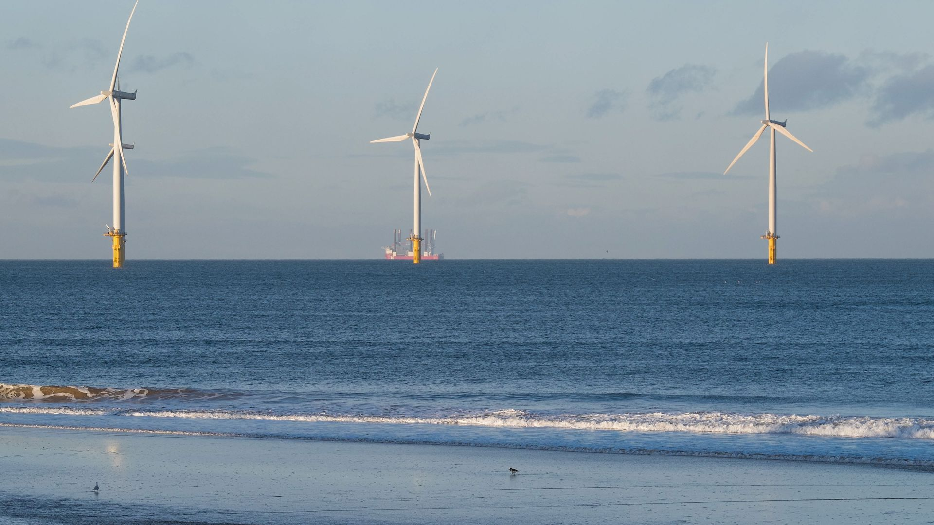 offshore windfarm in Redcar, England.
