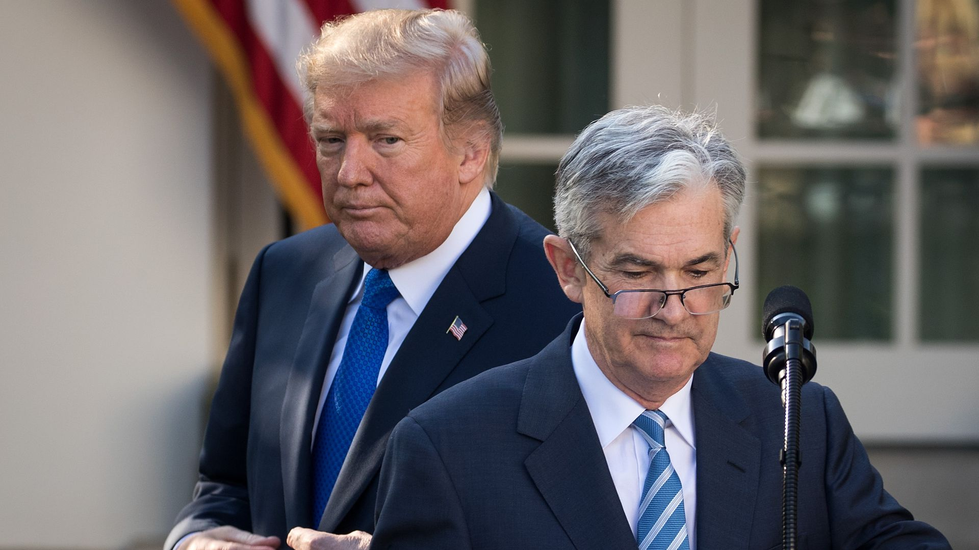 U.S. President Donald Trump looks on as Federal Reserve Jerome Powell takes to the podium during a press event in the Rose Garden at the White House, November 2, 2017 in Washington, DC.