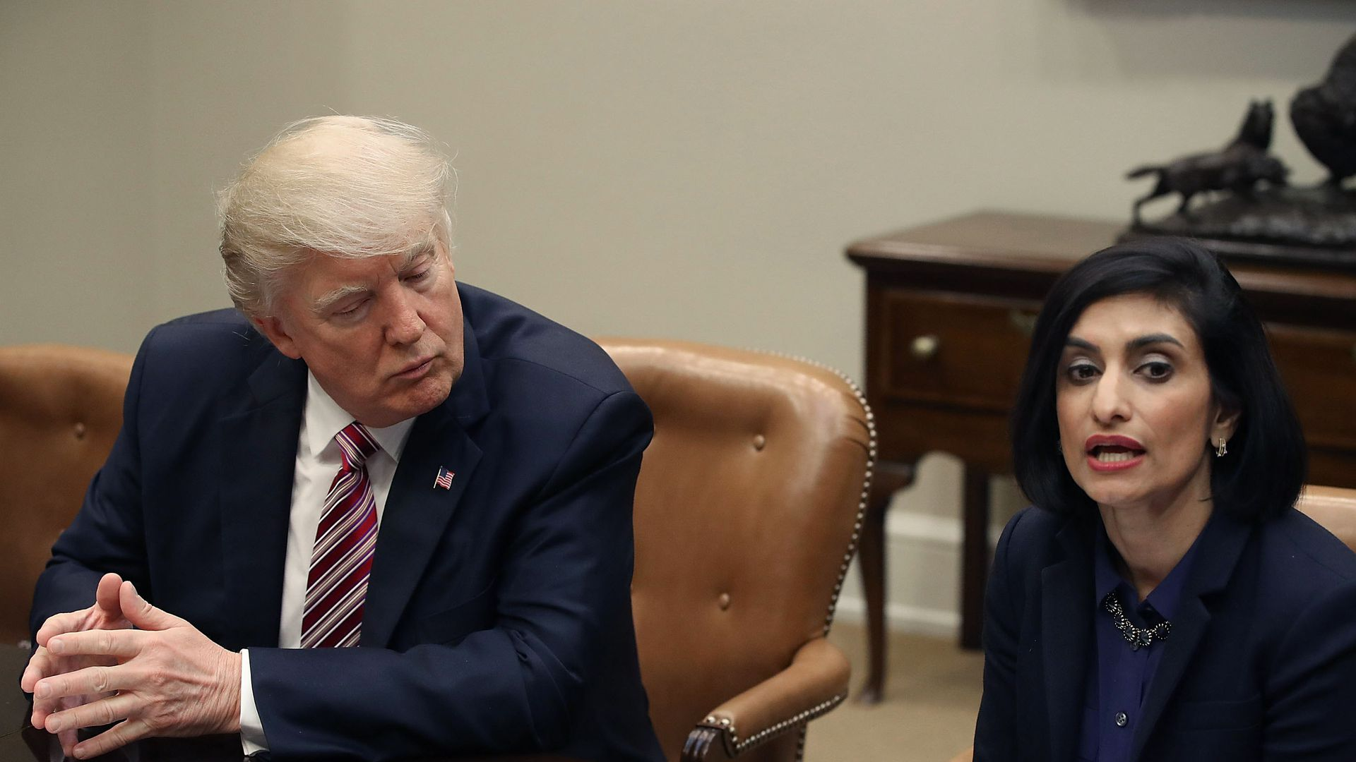President Trump listens to CMS Administrator Seema Verma