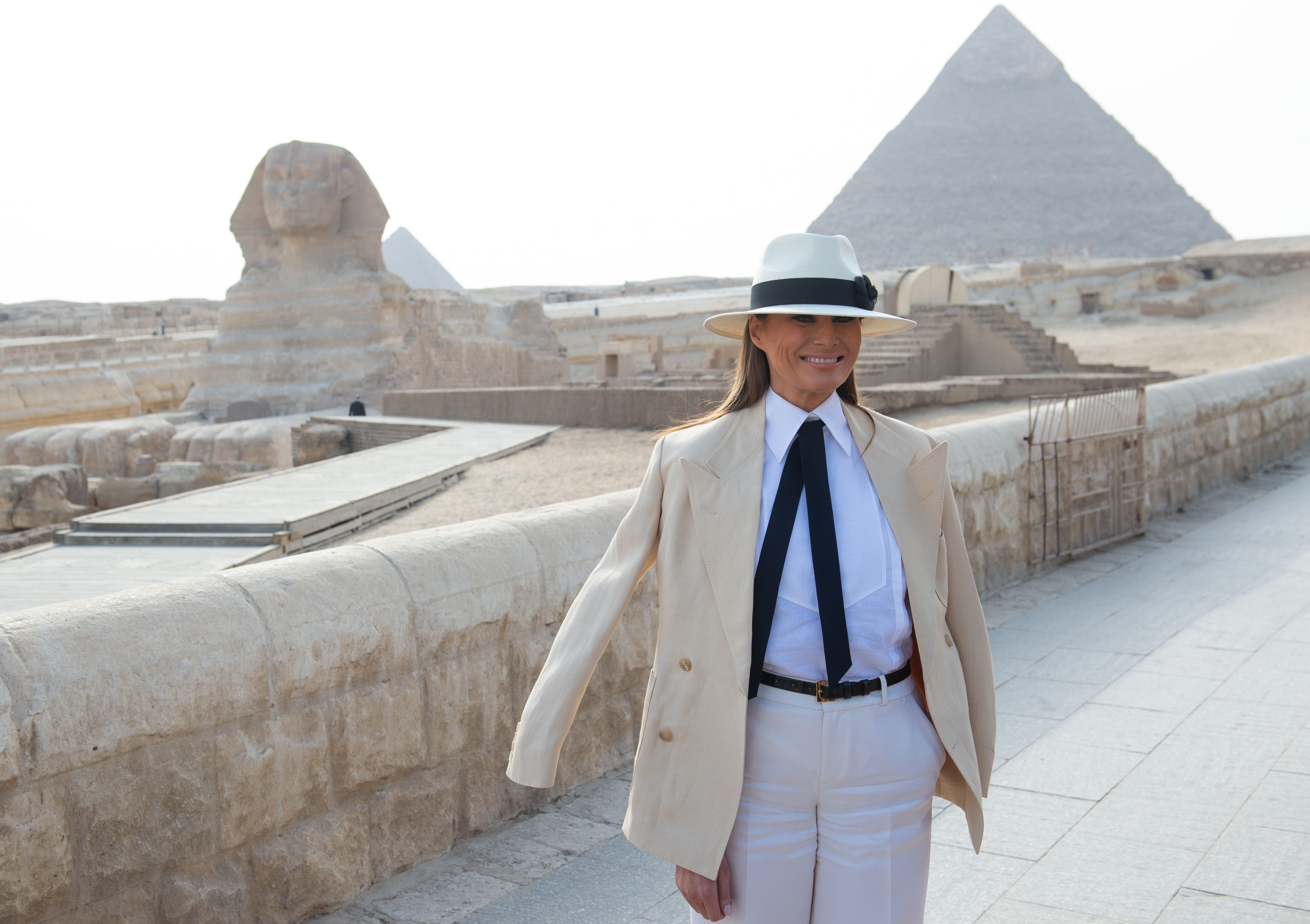Melania Trump dons a tan suit and black tie while touring the Egyptian pyramids