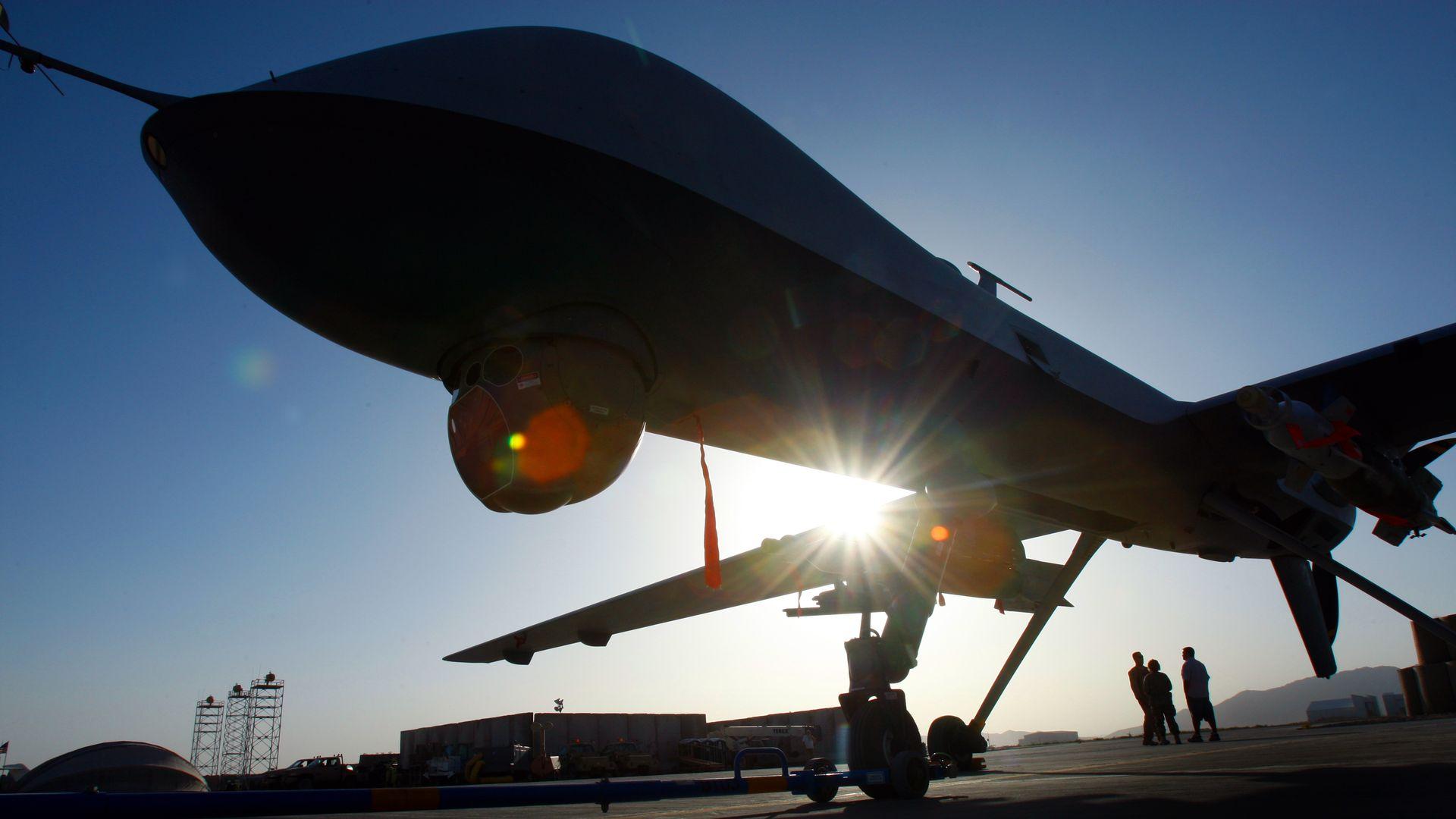 A predator drone on a runway in Kandahar, Afghanistan