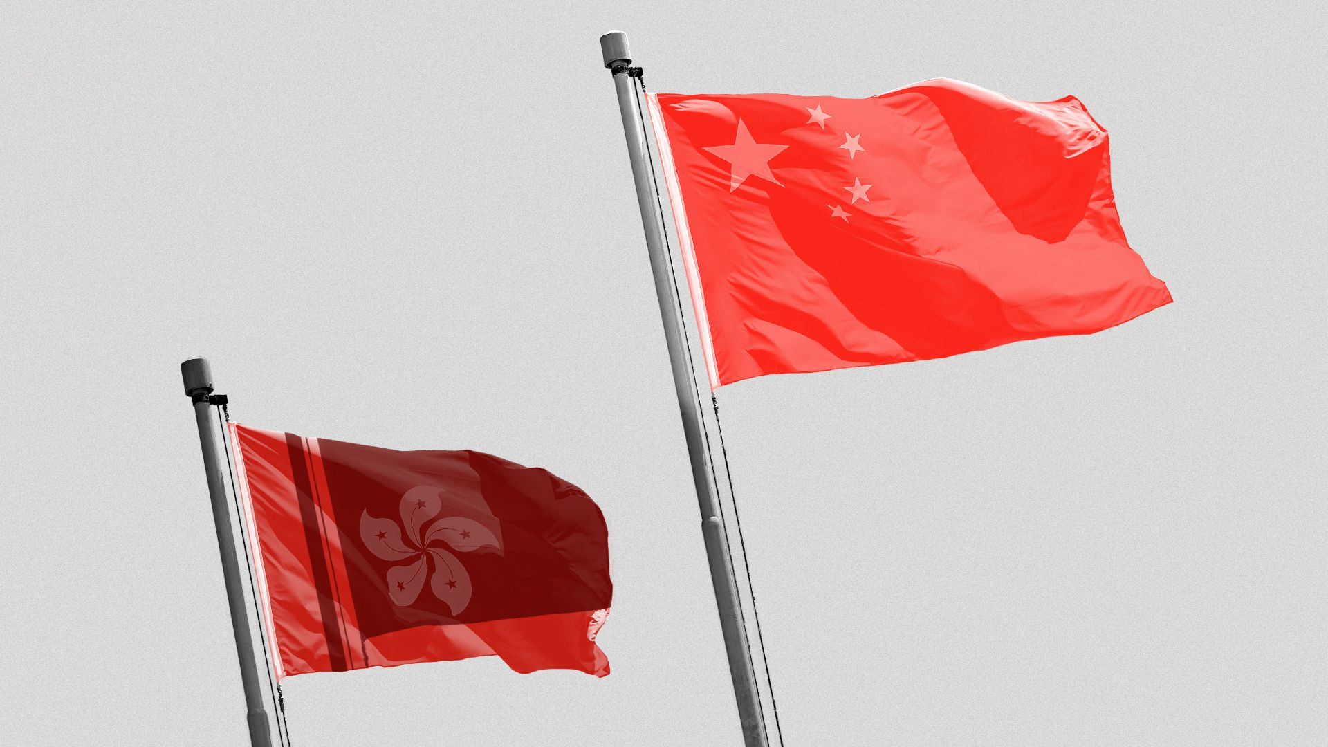 Illustration of the Chinese flag casting a shadow over the Hong Kong flag