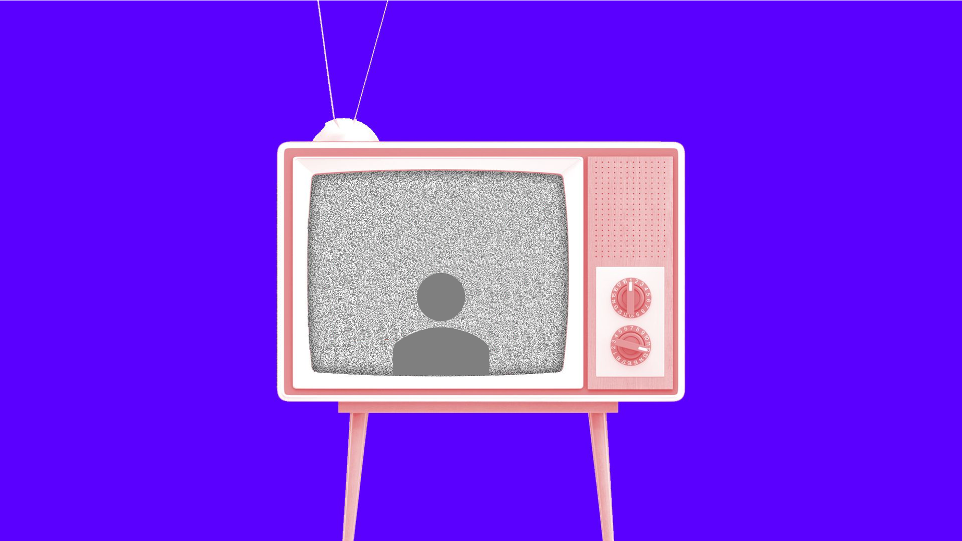 Illustration of a TV set with a social media icon on screen