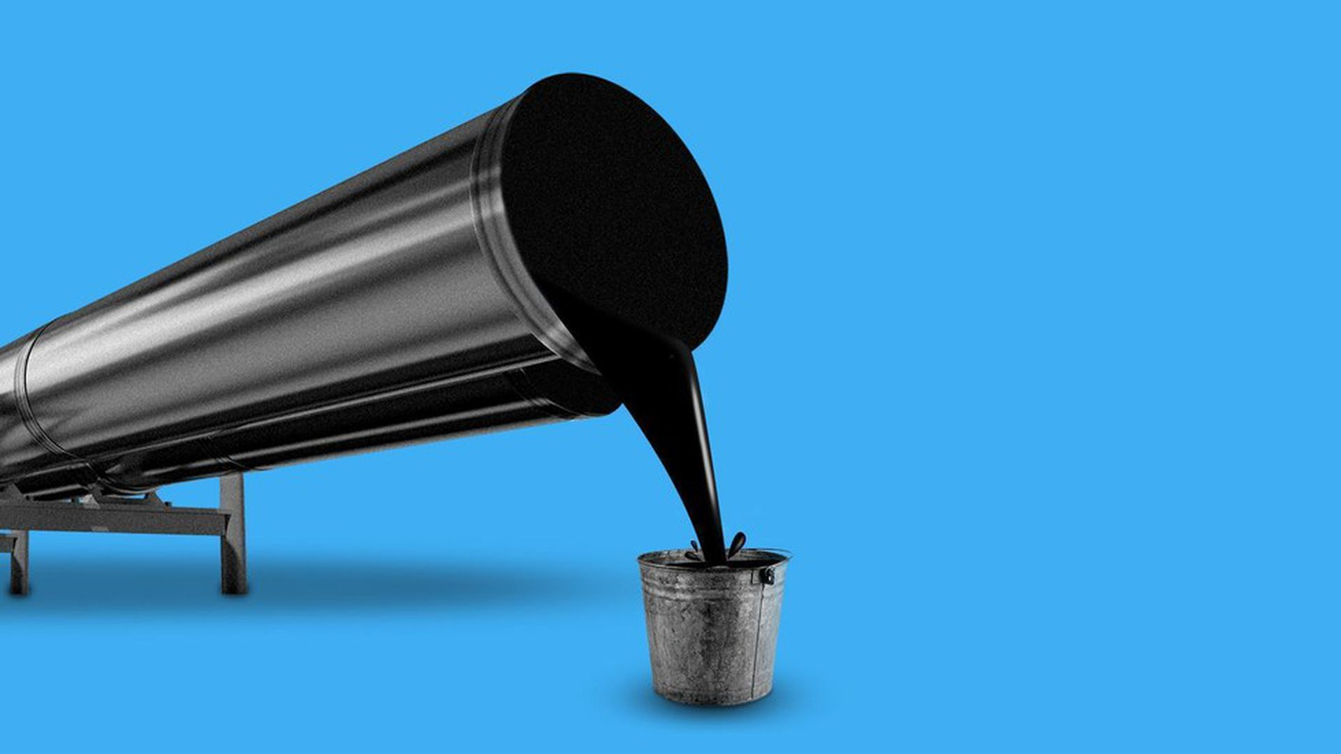 In this illustration, oil pours out of a metal container into a small bucket. There is a bright blue background.